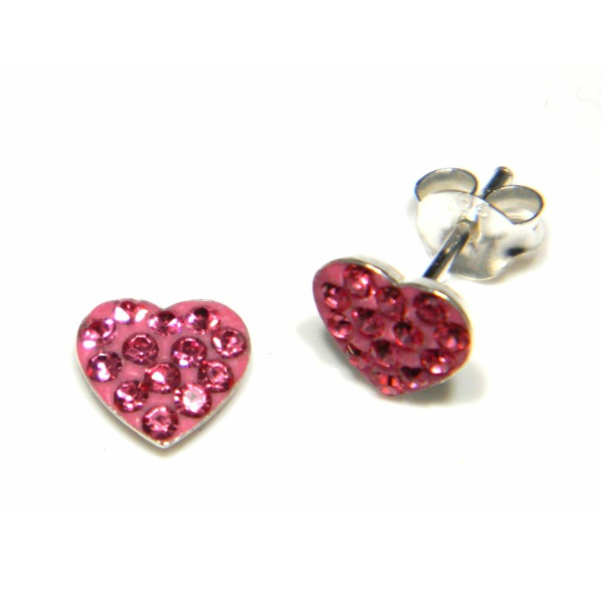 7 mm pink coloured crystal heart stud earrings in sterling silver