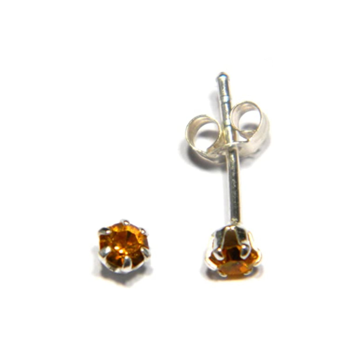 3 mm amber coloured crystal stud round solitaire earrings in sterling silver