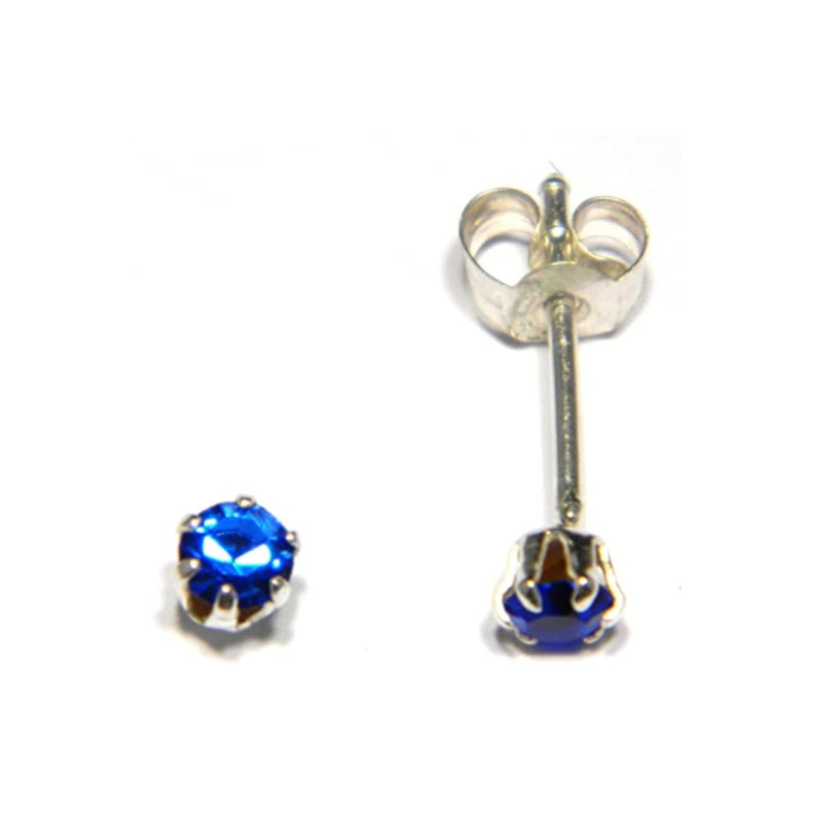3 mm blue coloured crystal stud round solitaire earrings in sterling silver
