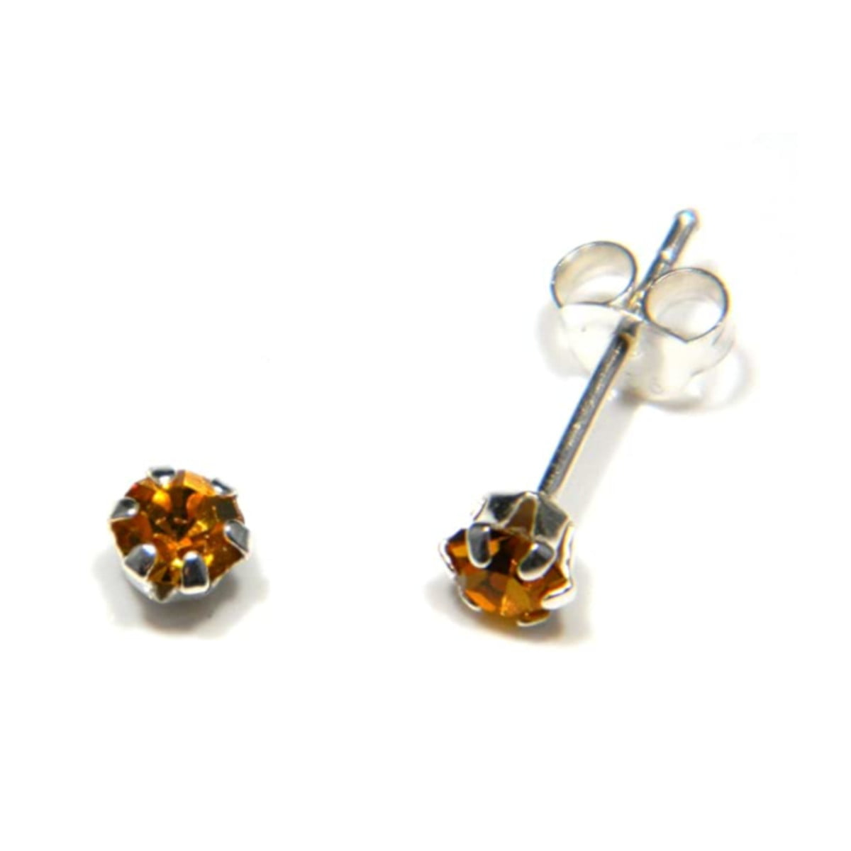 4 mm amber coloured crystal stud round solitaire earrings in sterling silver