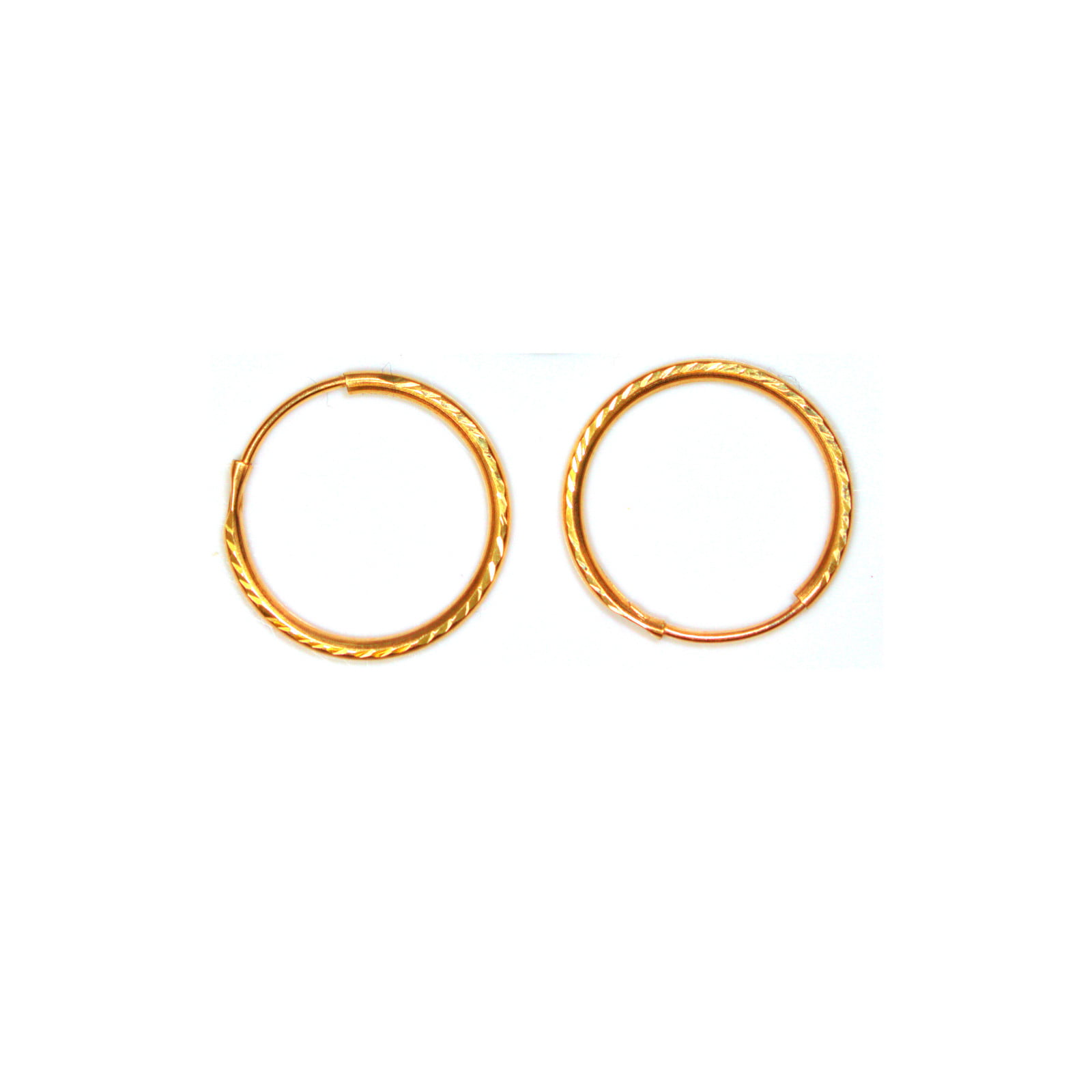 Gold hoop earrings 14mm medium weight diamond cut