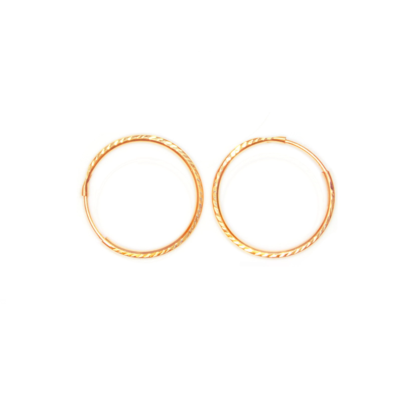Pair of 18mm 9ct gold hoop earrings. Diamond cut finish and medium weight.