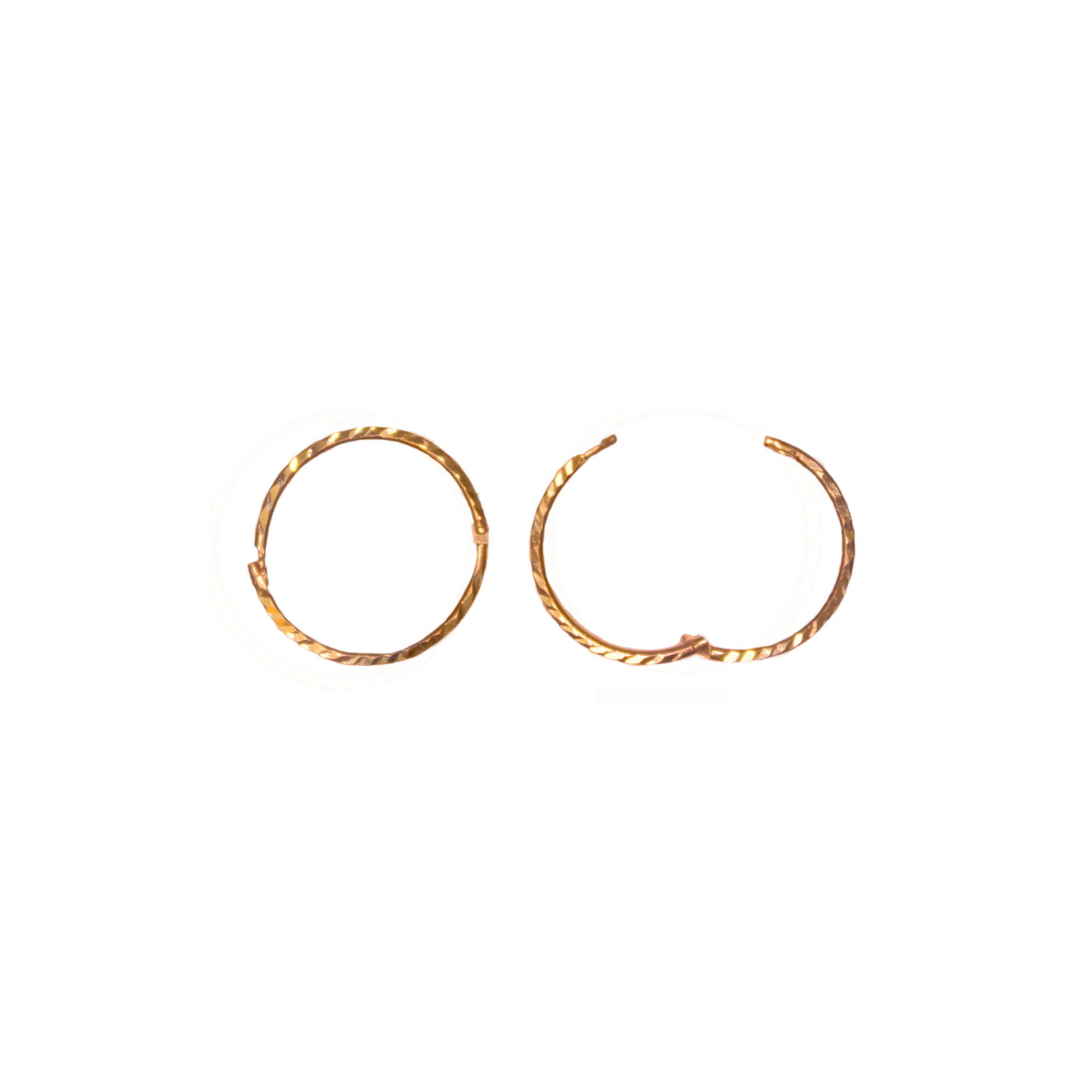 12mm hinged 9ct yellow gold hoop earrings. Diamond cut finish.