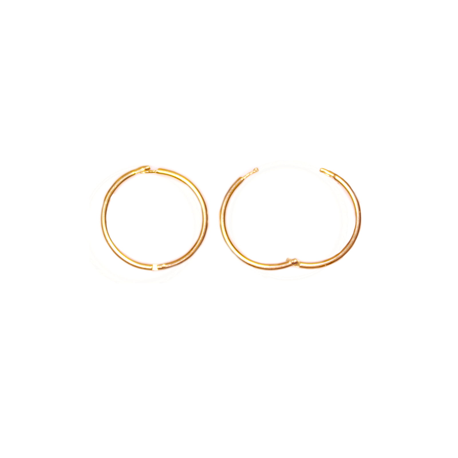 Pair of 9ct yellow gold hinged hoop earrings. 12mm across.