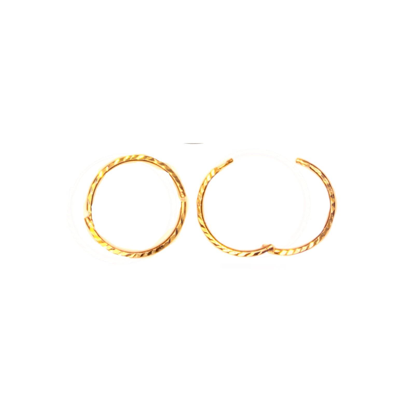 Pair of hinged 14mm 9ct gold hoop earrings. Diamond cut finish.
