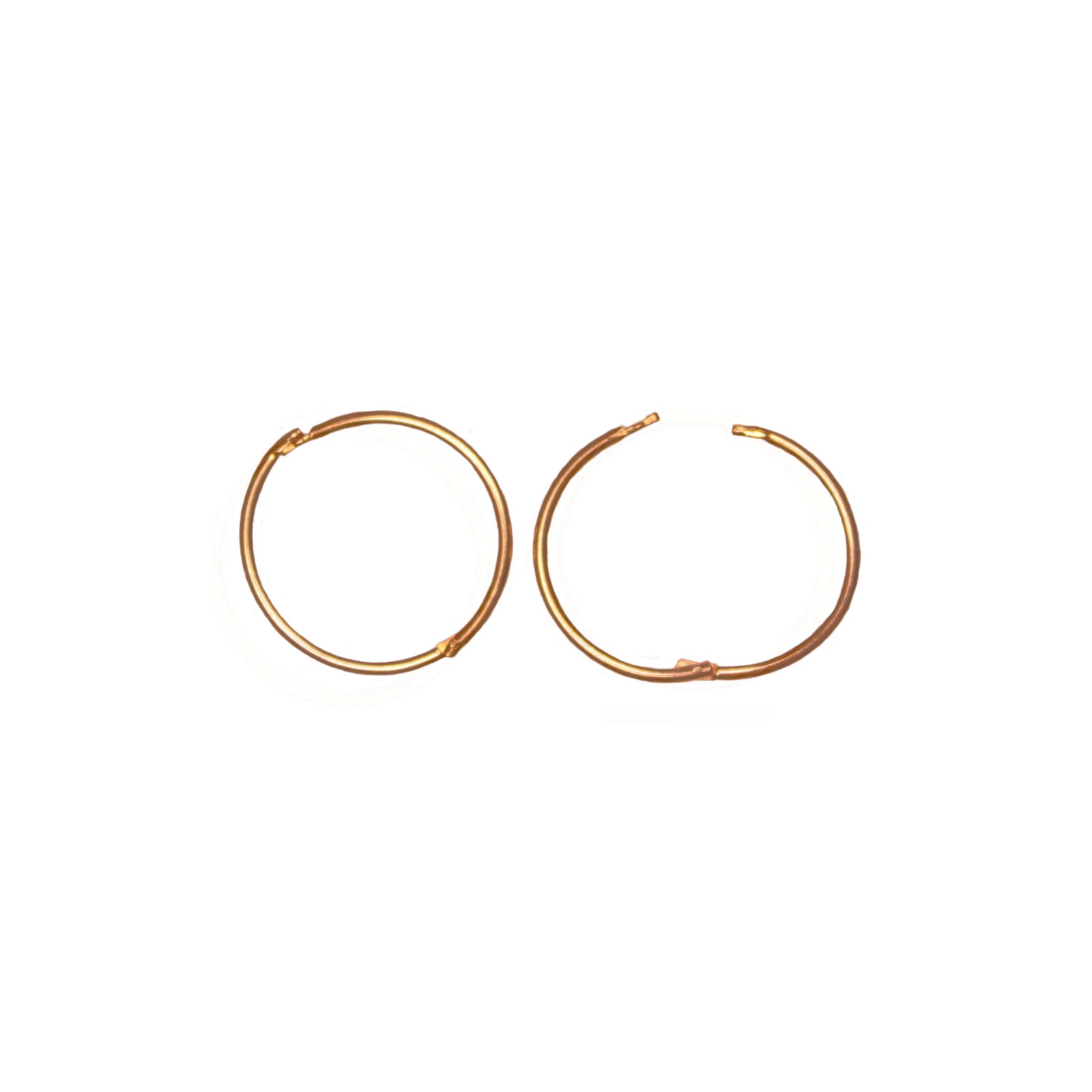 Pair of 9ct yellow gold hinged hoop earrings. 14mm across.