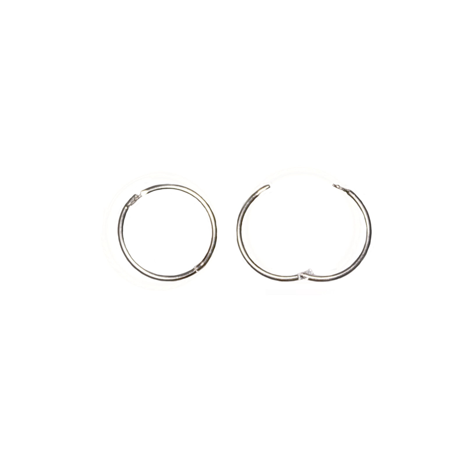 Pair of 925 Sterling silver hinged sleeper hoop earrings. 12mm across.