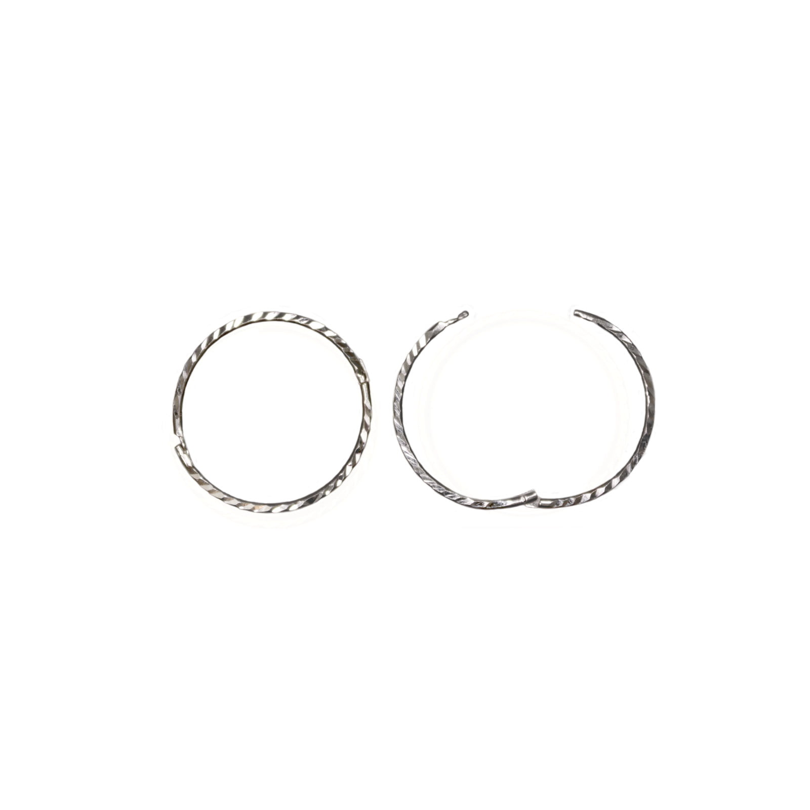 Pair of 925 Sterling silver Diamond cut hinged hoop earrings. 14mm across
