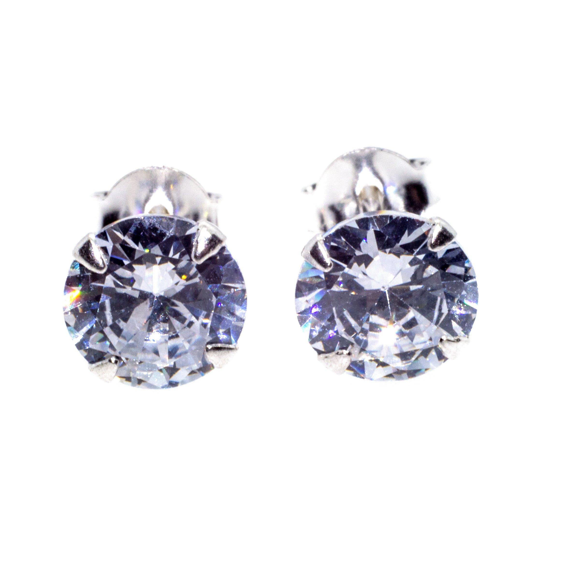 7mm silver cz stud earrings alt 1