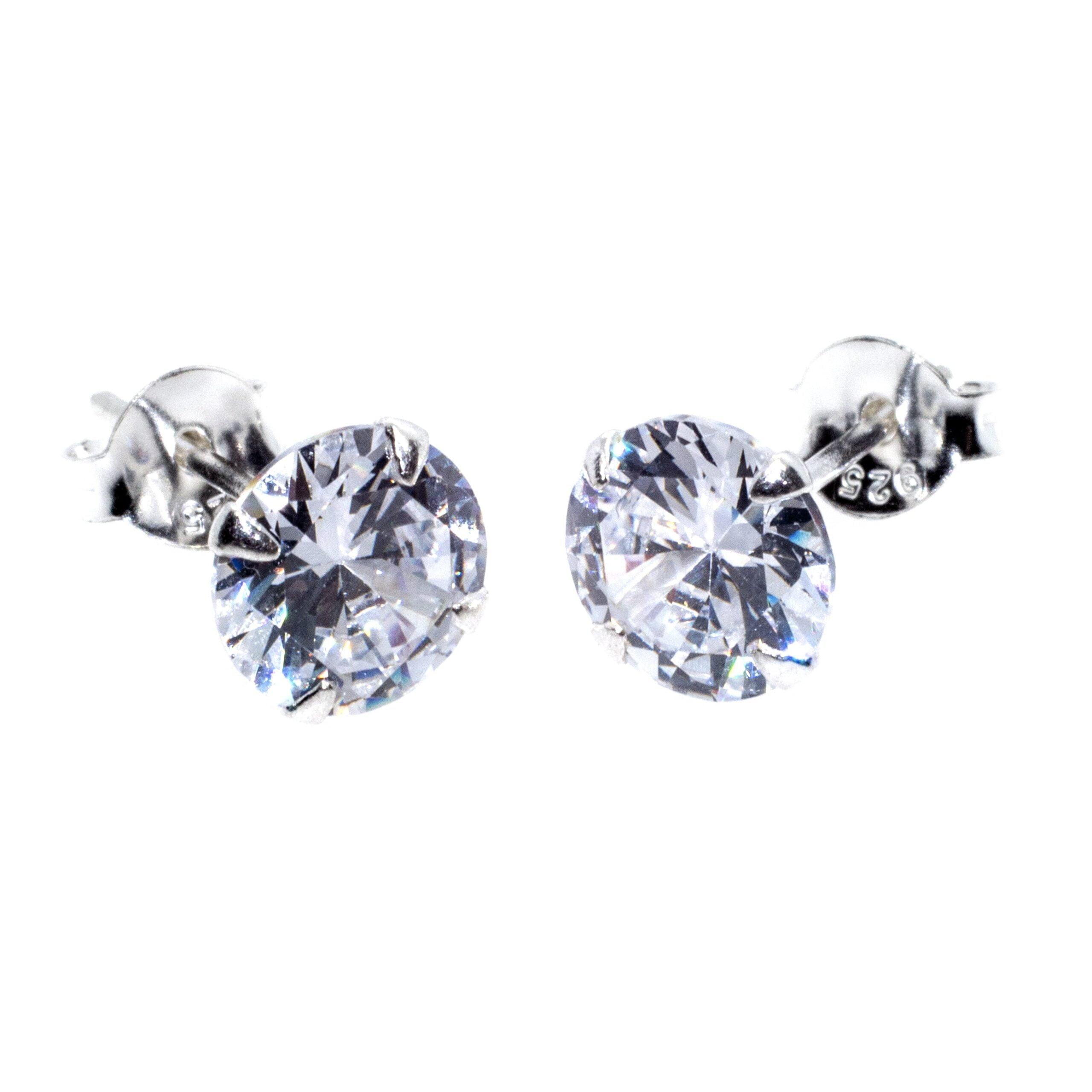 7mm silver cz stud earrings alt 2