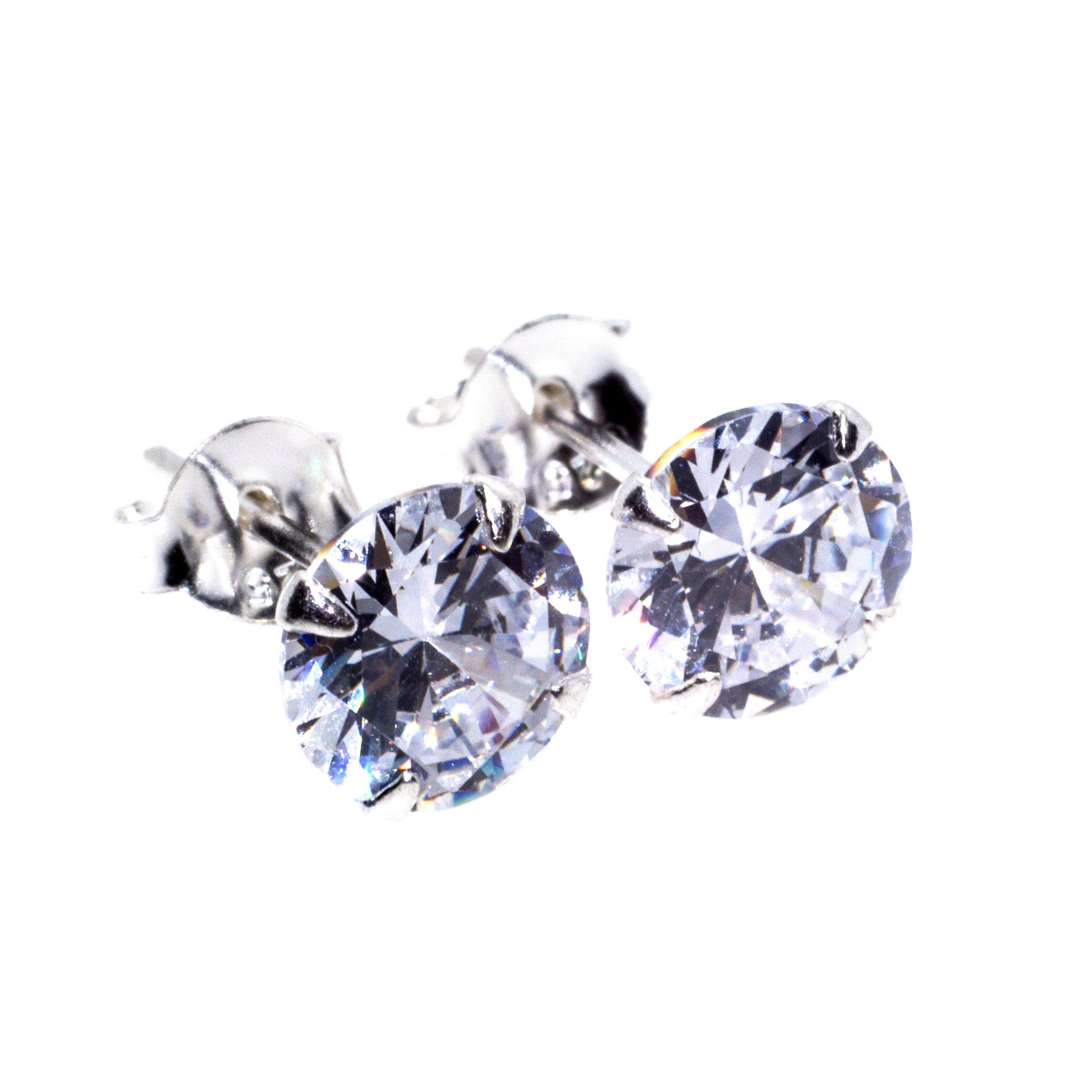 7mm silver cz stud earrings alt 3