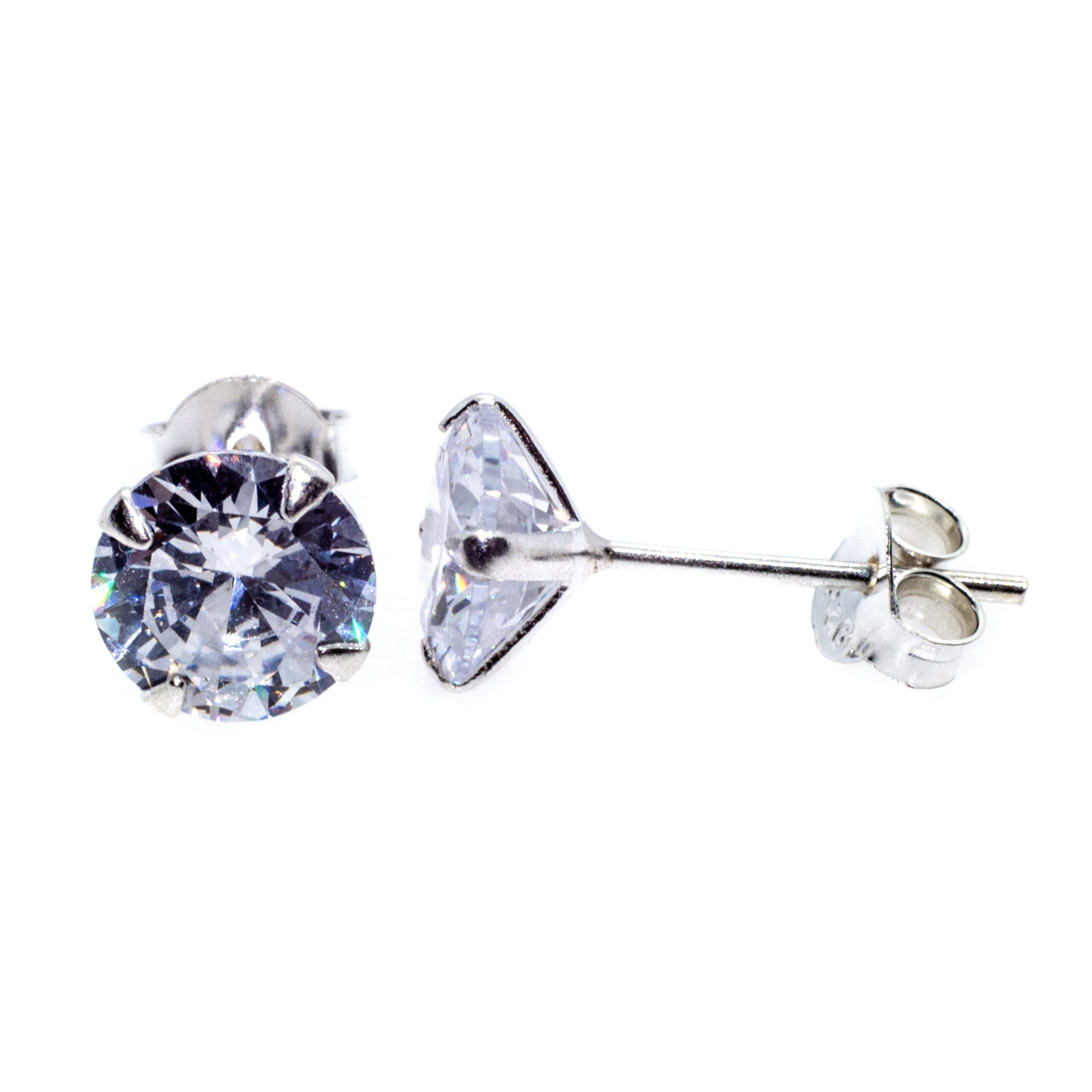 CZ stud earrings 7mm in sterling silver