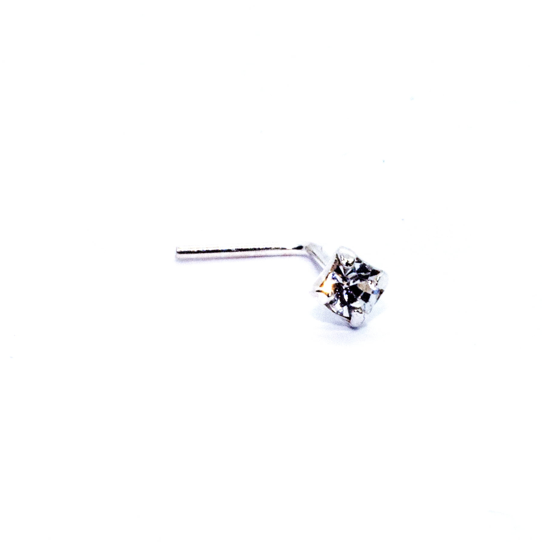 Small square crystal nose stud in silver (alt2)