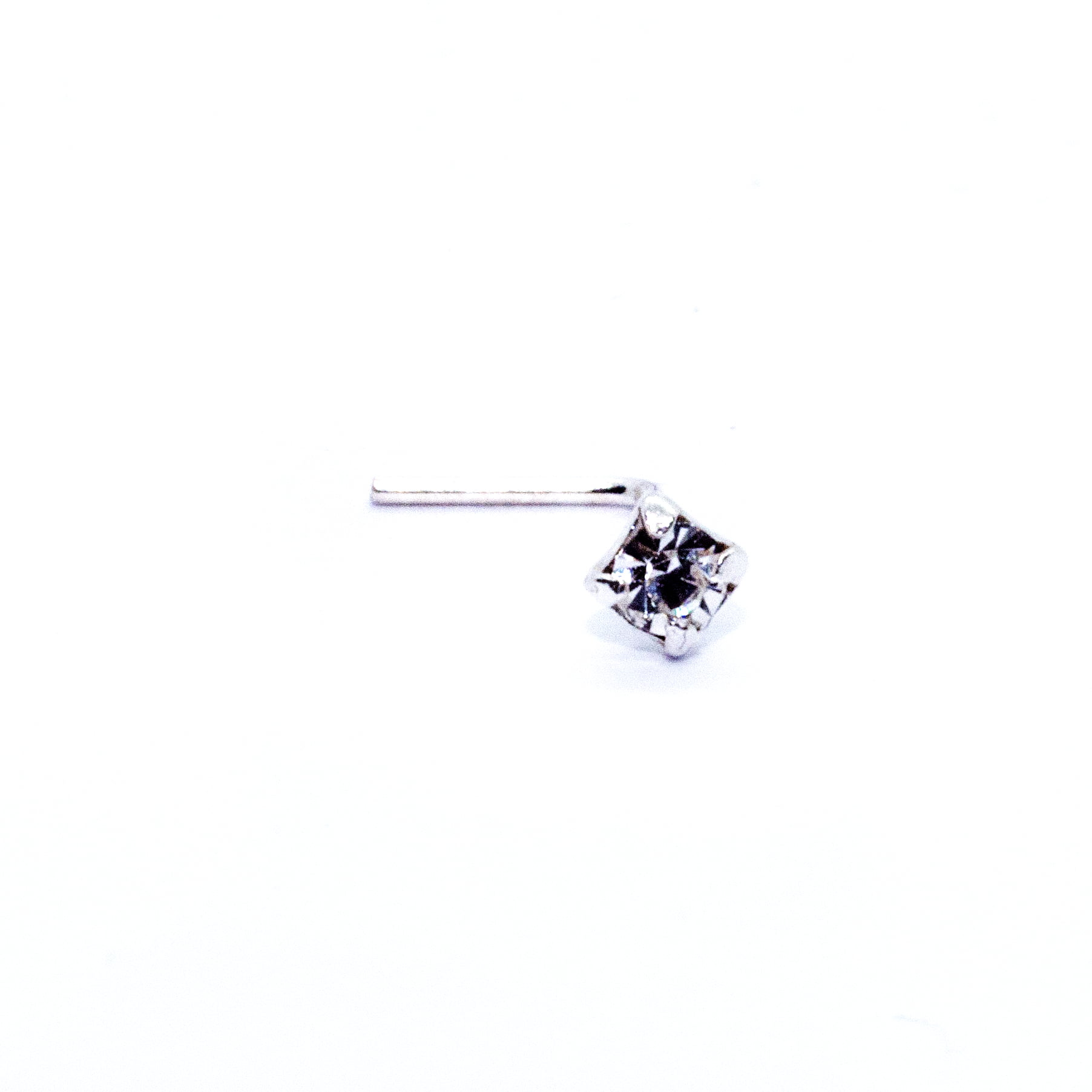 Small square crystal nose stud in silver (alt1)