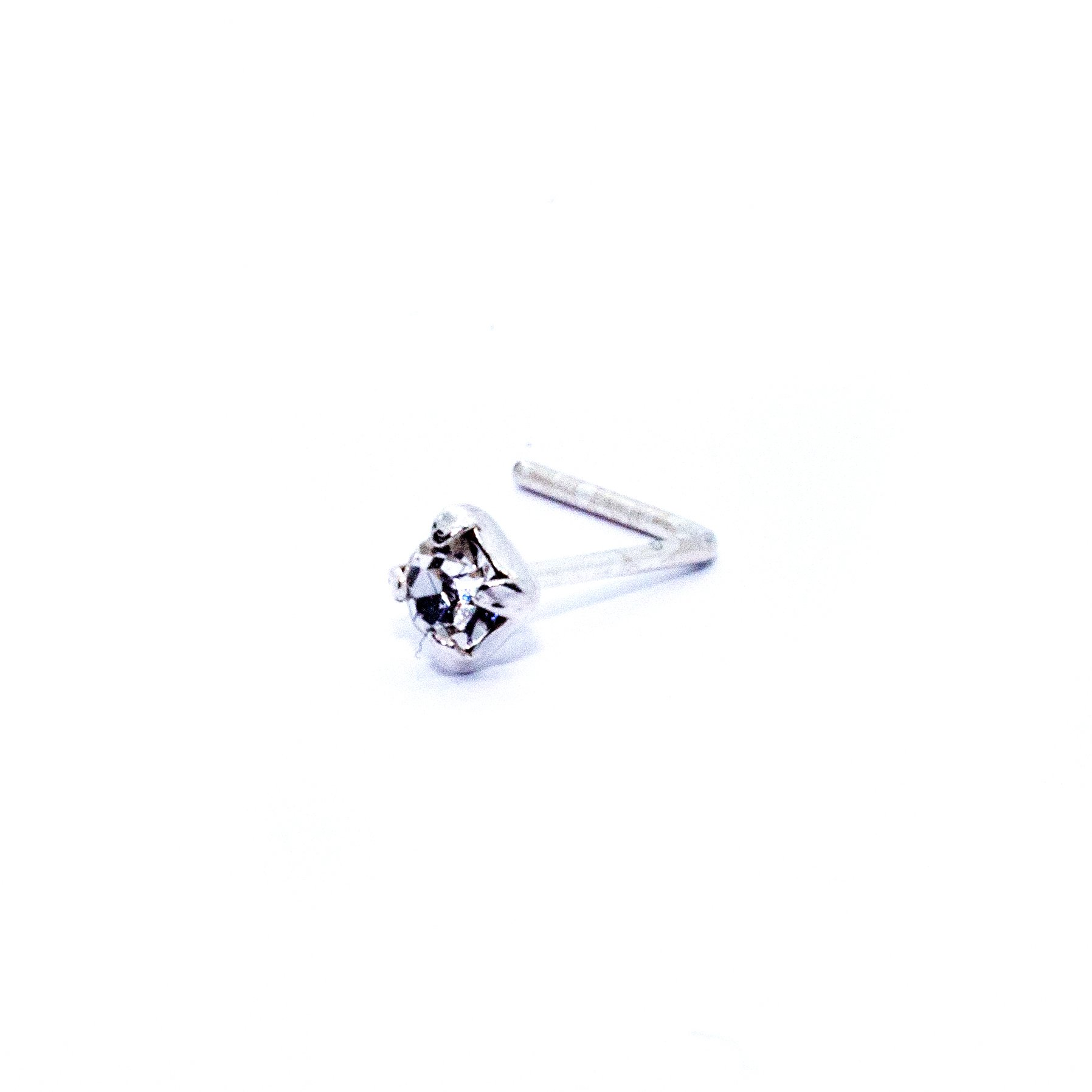 Small square crystal nose stud in silver