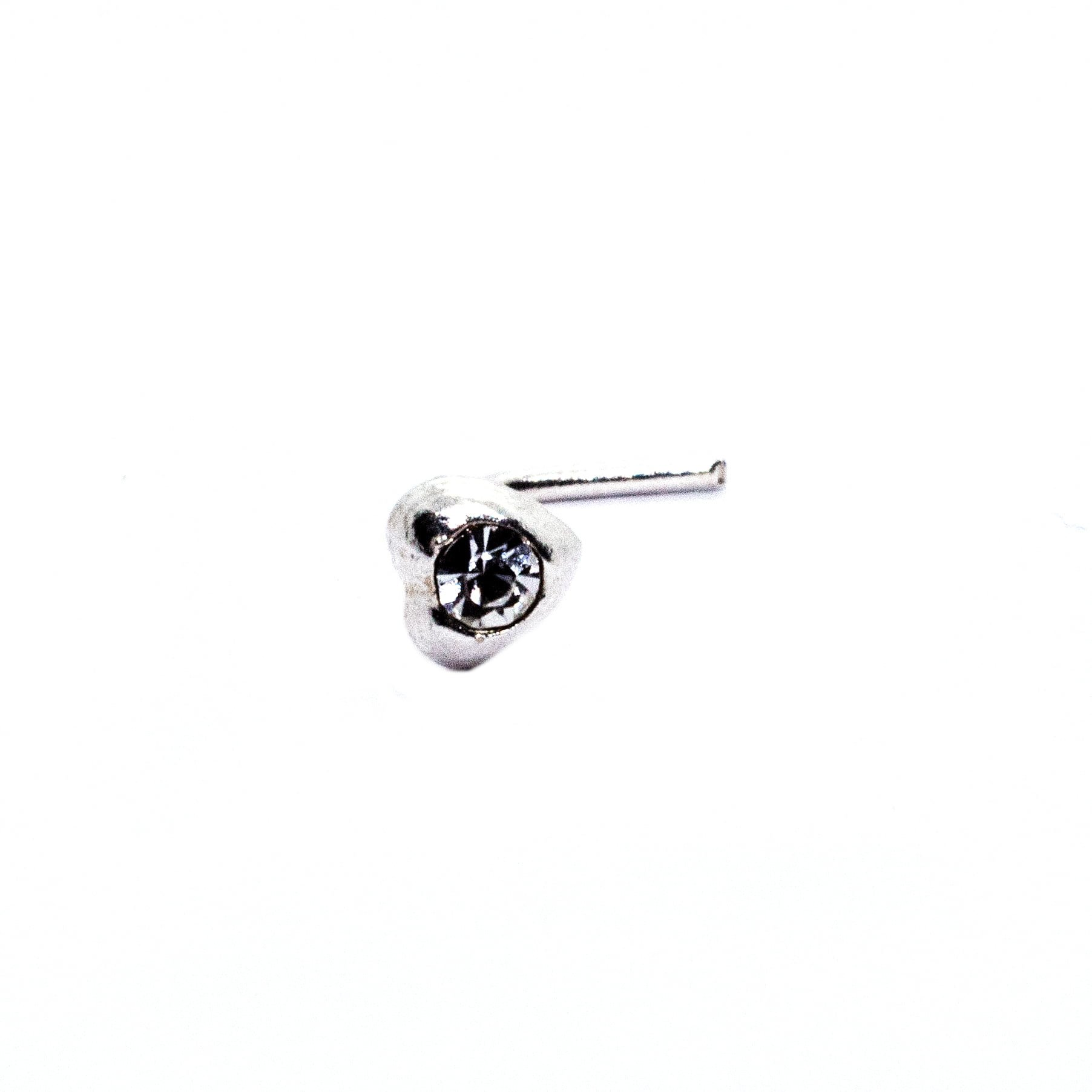 Heart nose stud with crystal
