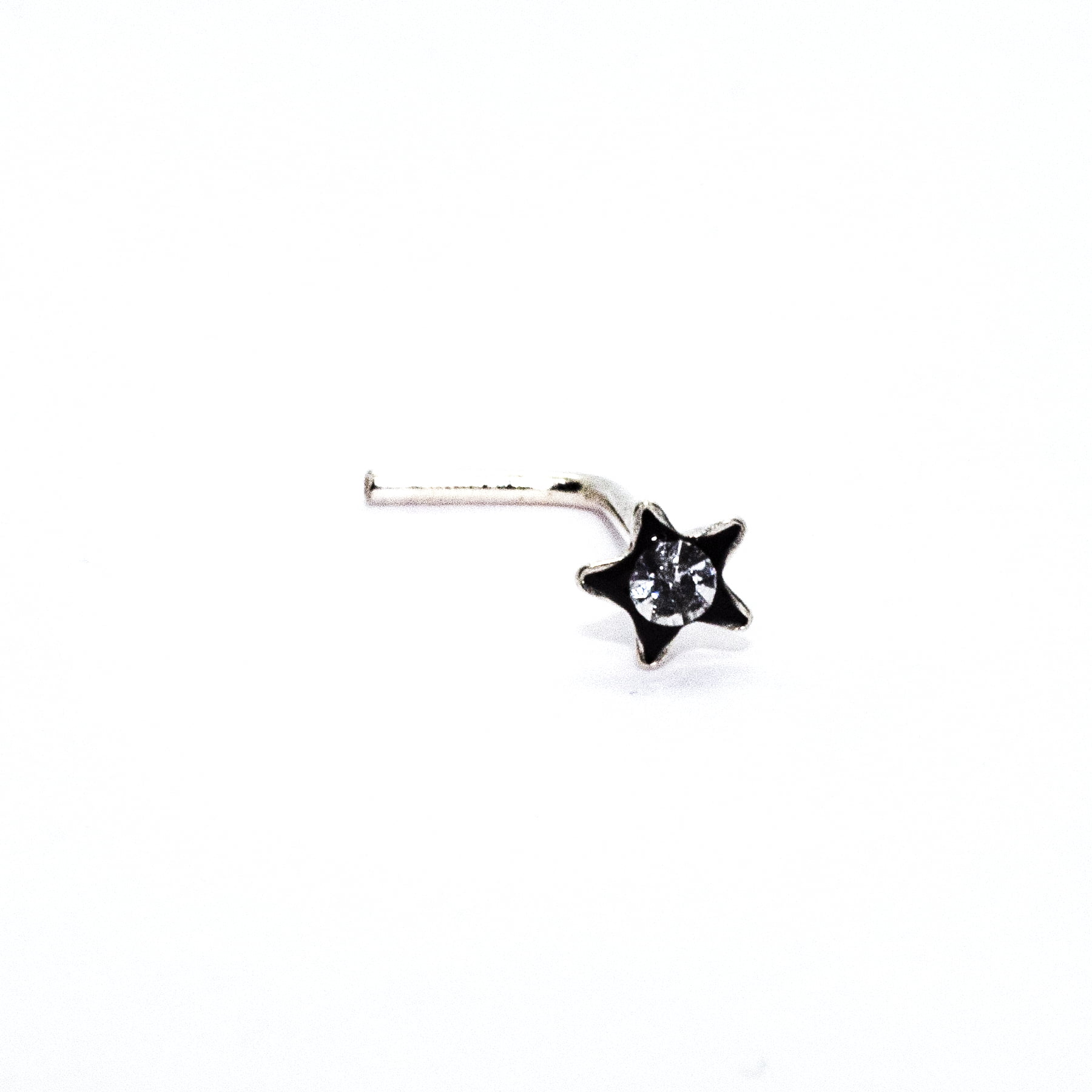 Star with clear crystal nose stud in sterling silver (alt1)