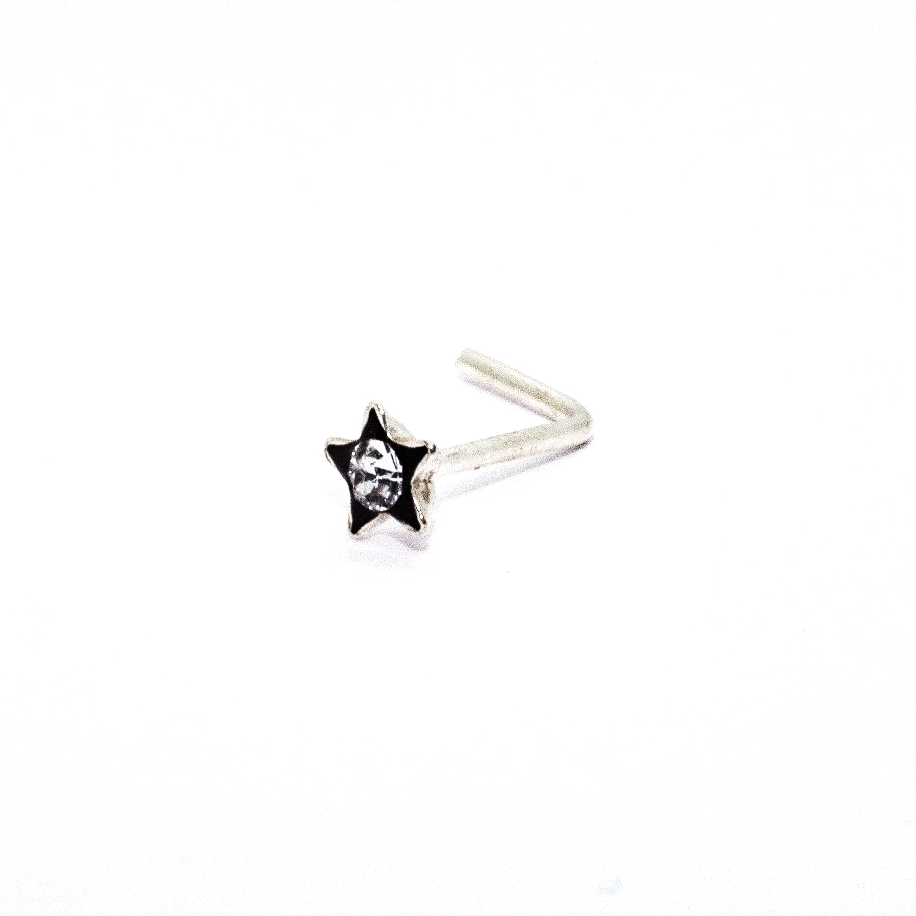 Star with clear crystal nose stud in sterling silver