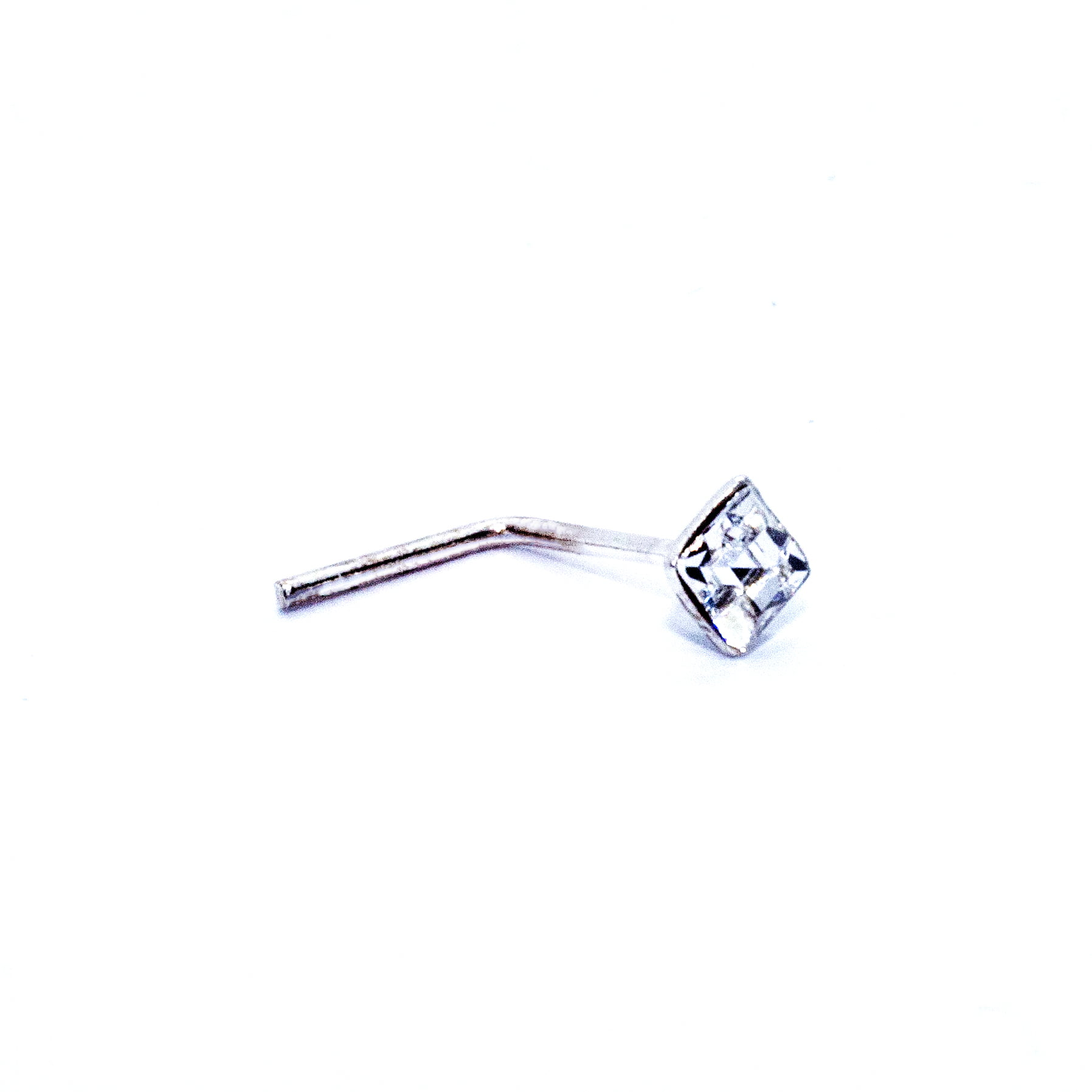 square crystal nose stud in sterling silver