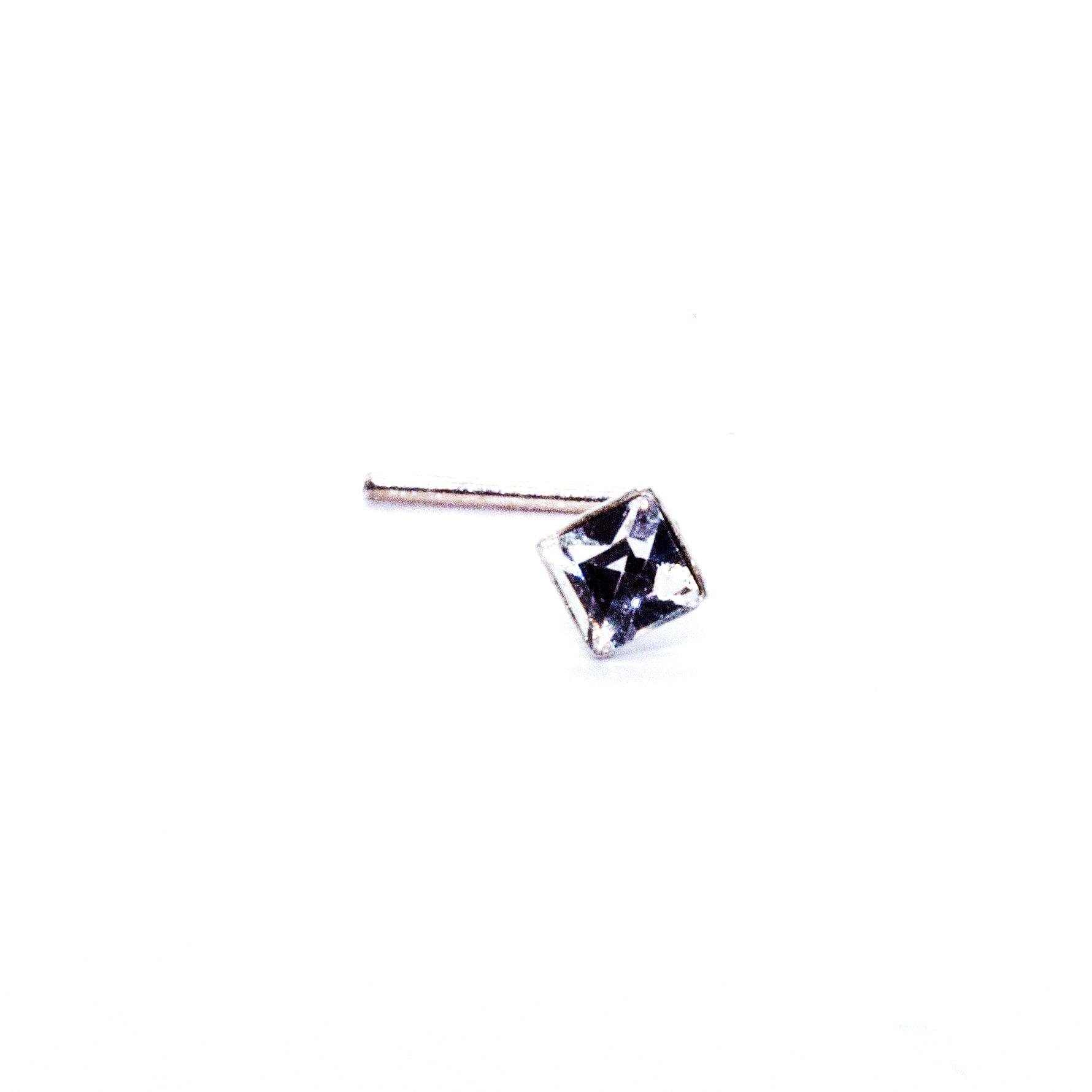 square crystal nose stud in sterling silver (alt3)