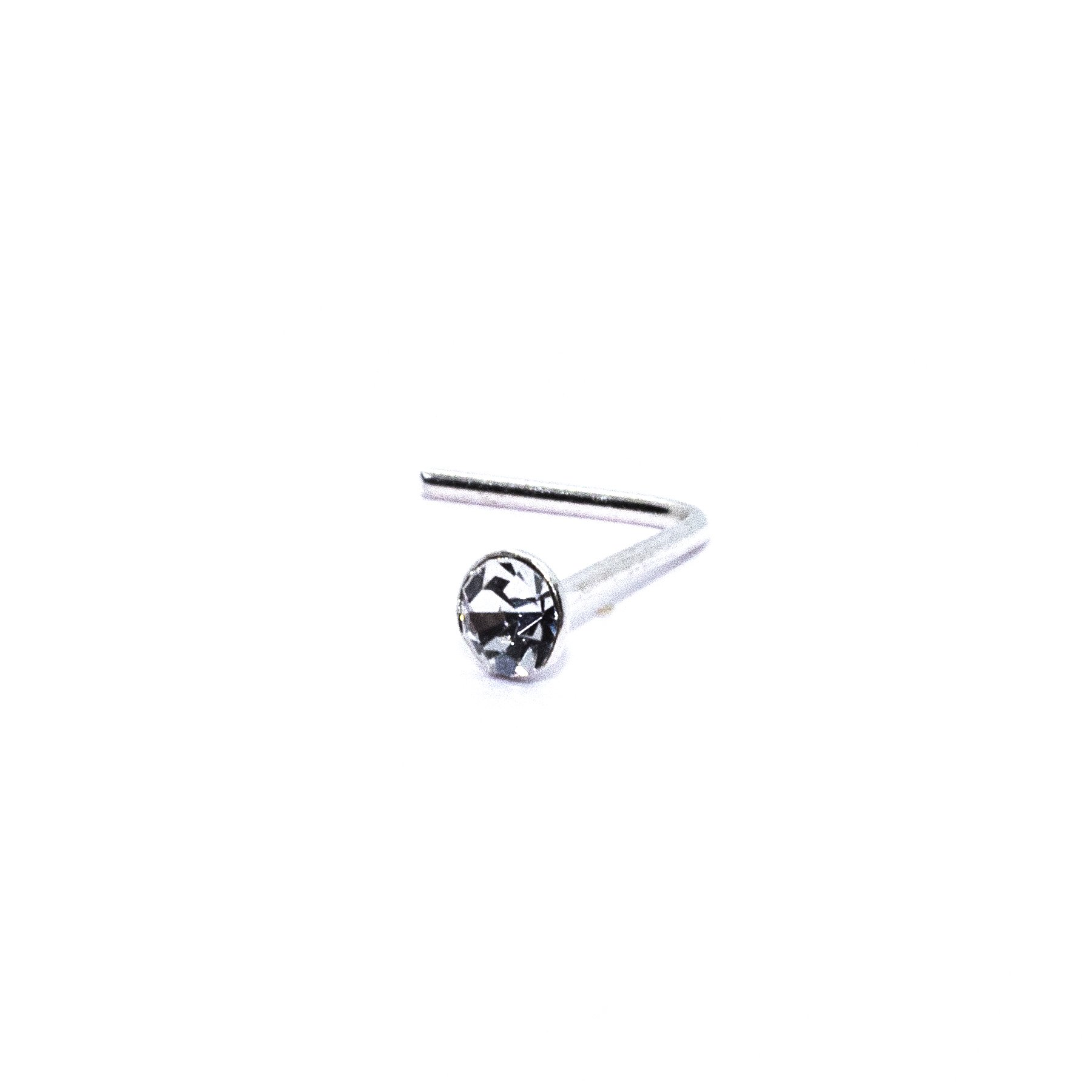 2mm round crystal silver nose stud