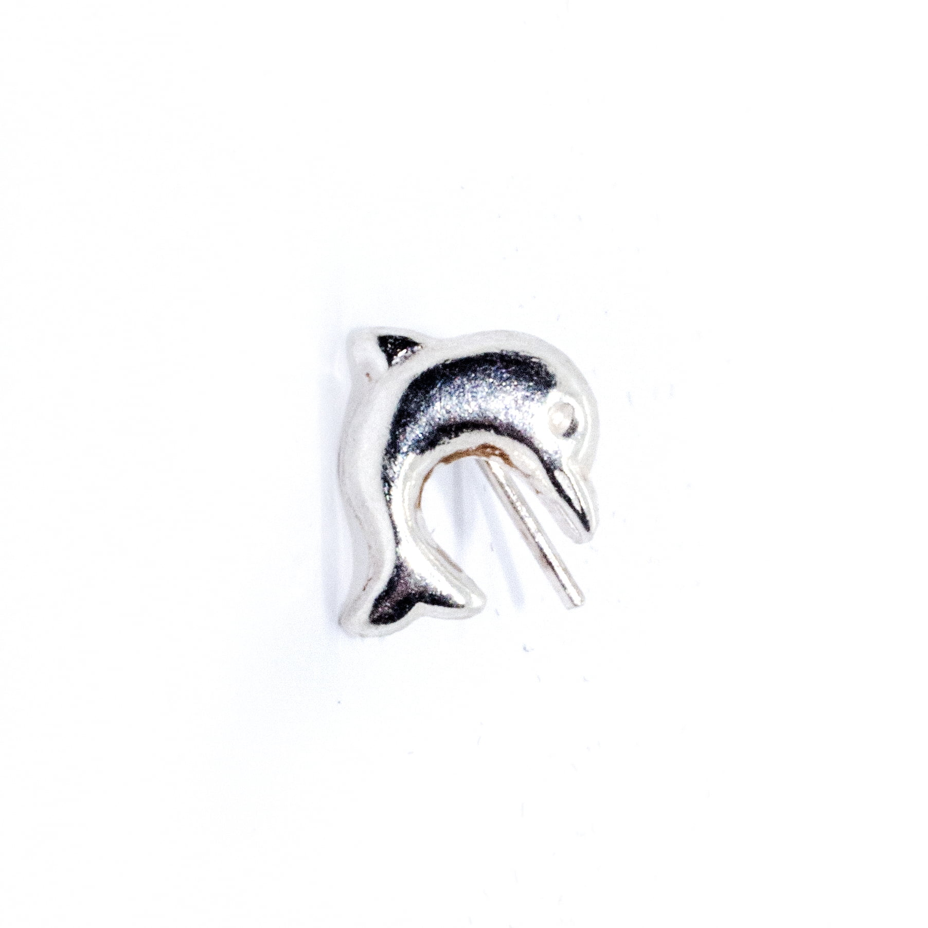 Nose stud silver dolphin