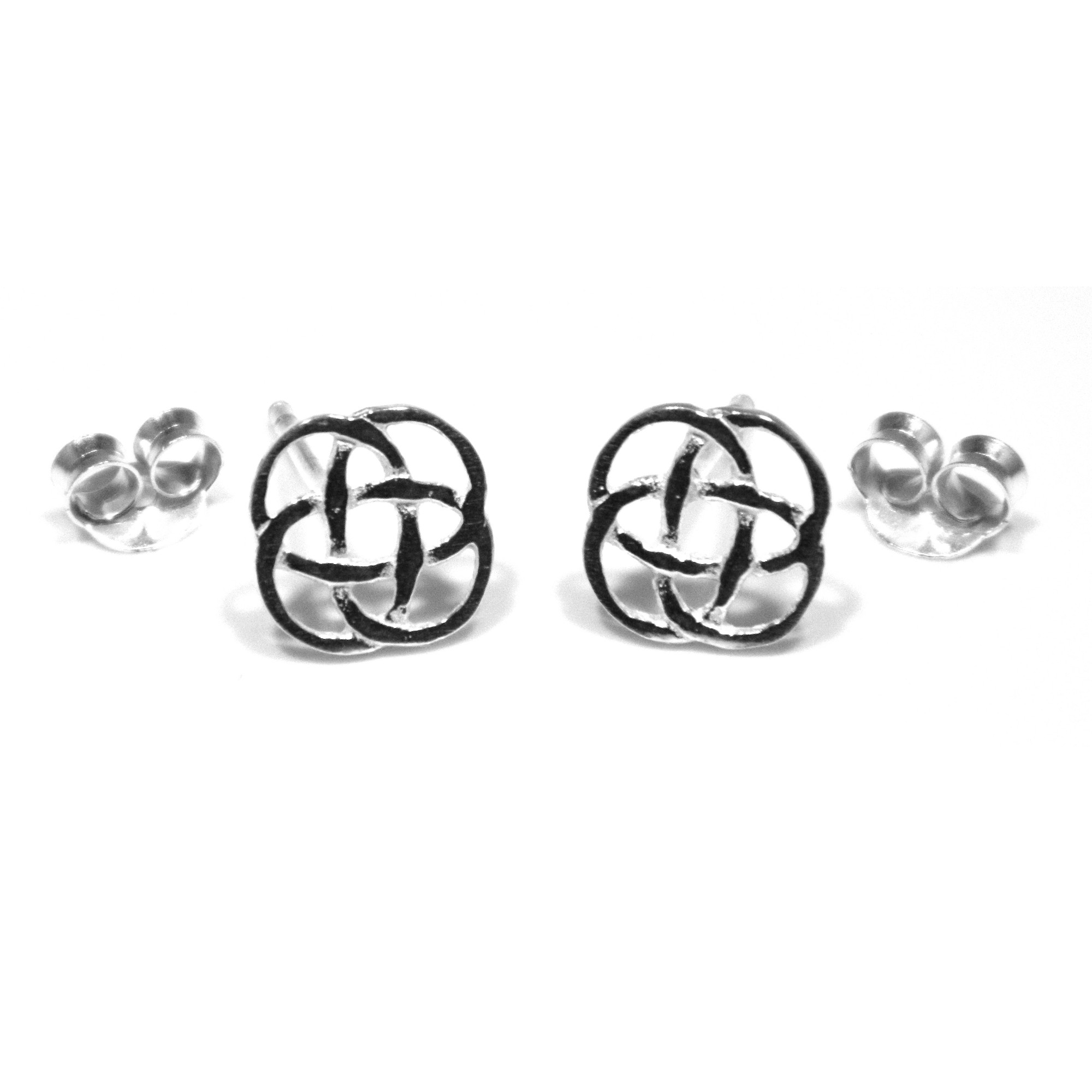 Sterling silver celtic knot square stud earrings
