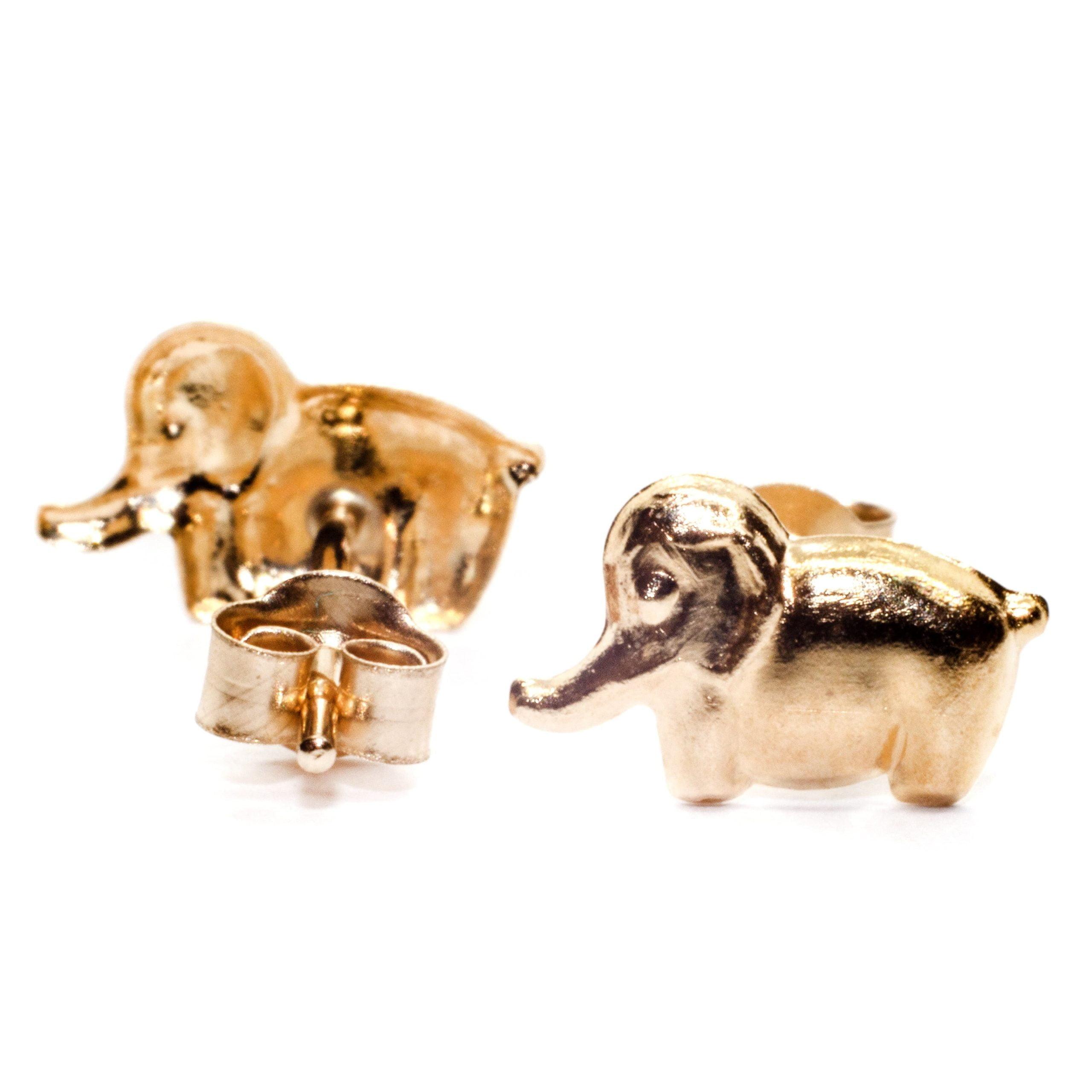 8mm elephant stud earring 9ct yellow gold (alt 2)