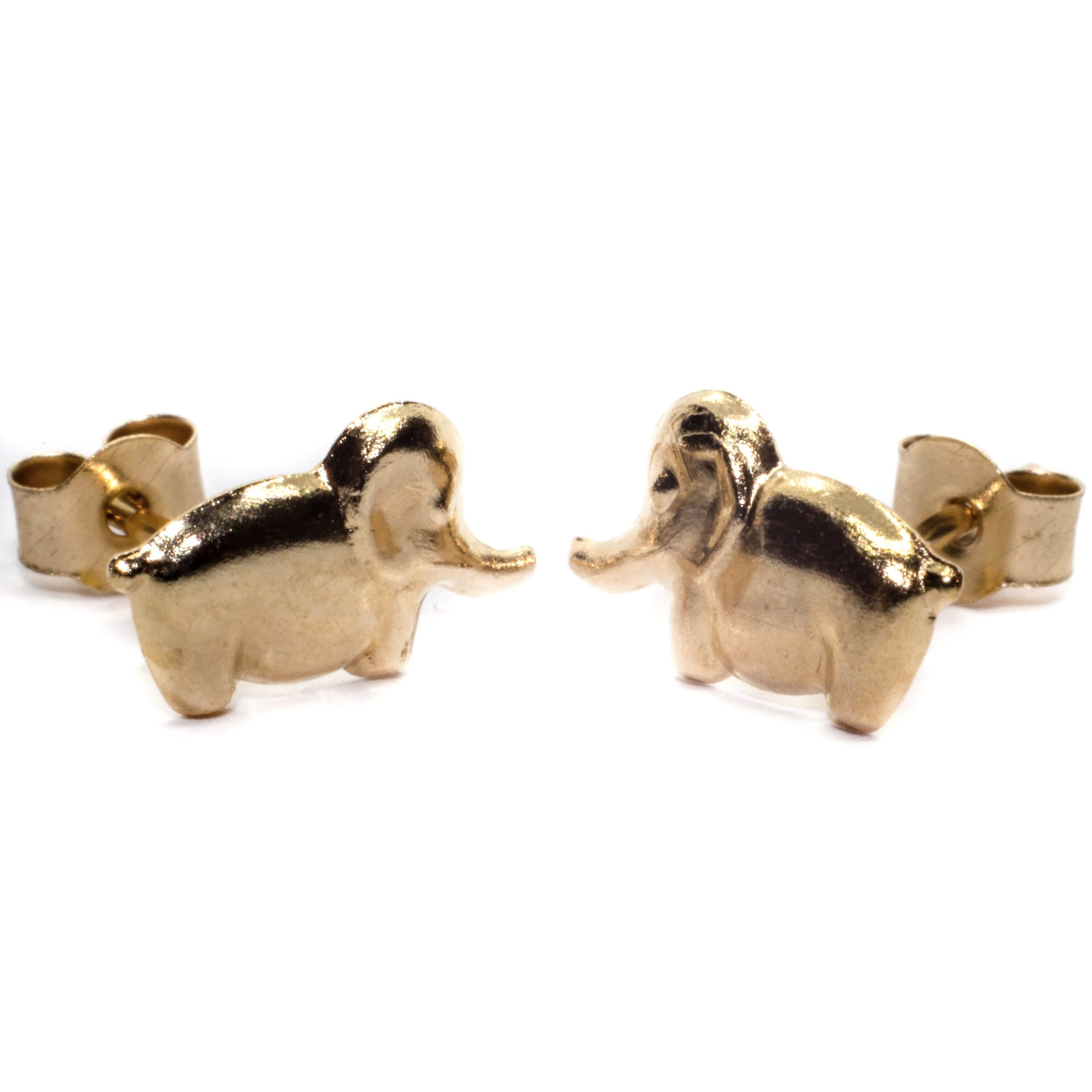 8mm elephant stud earring 9ct yellow gold (alt 3)