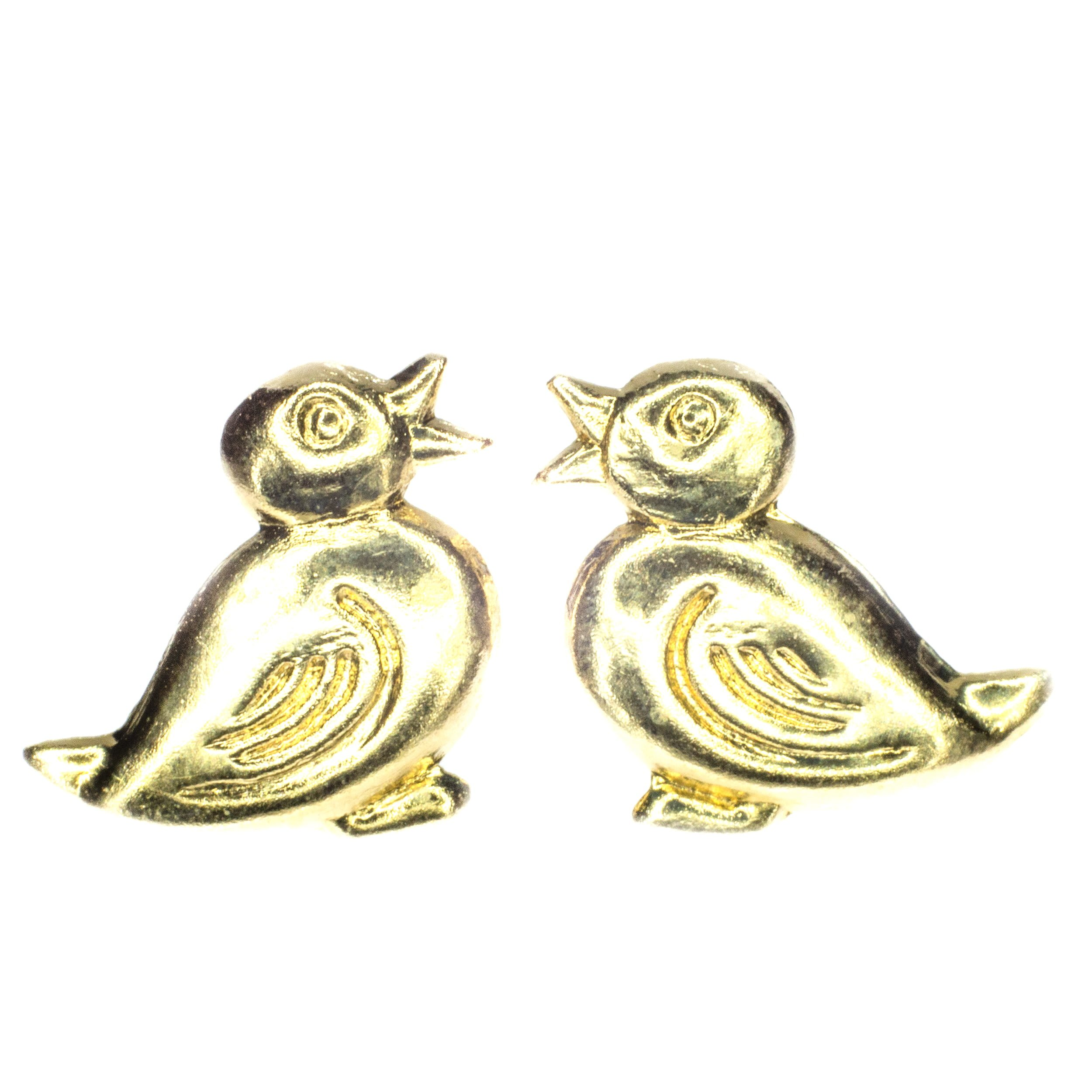 10mm duck stud earring 9ct yellow gold alt 1
