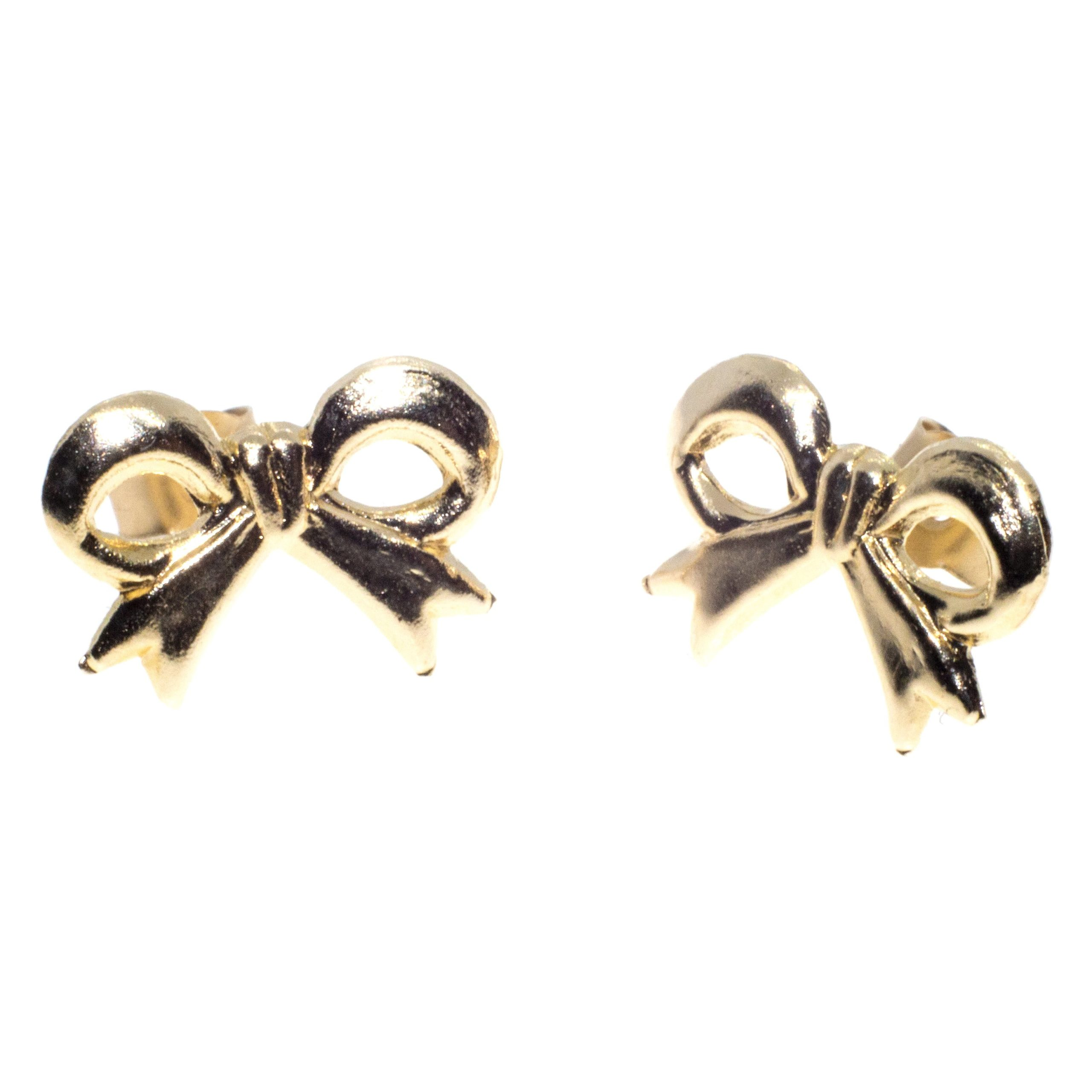 9ct gold ribbon bow earrings