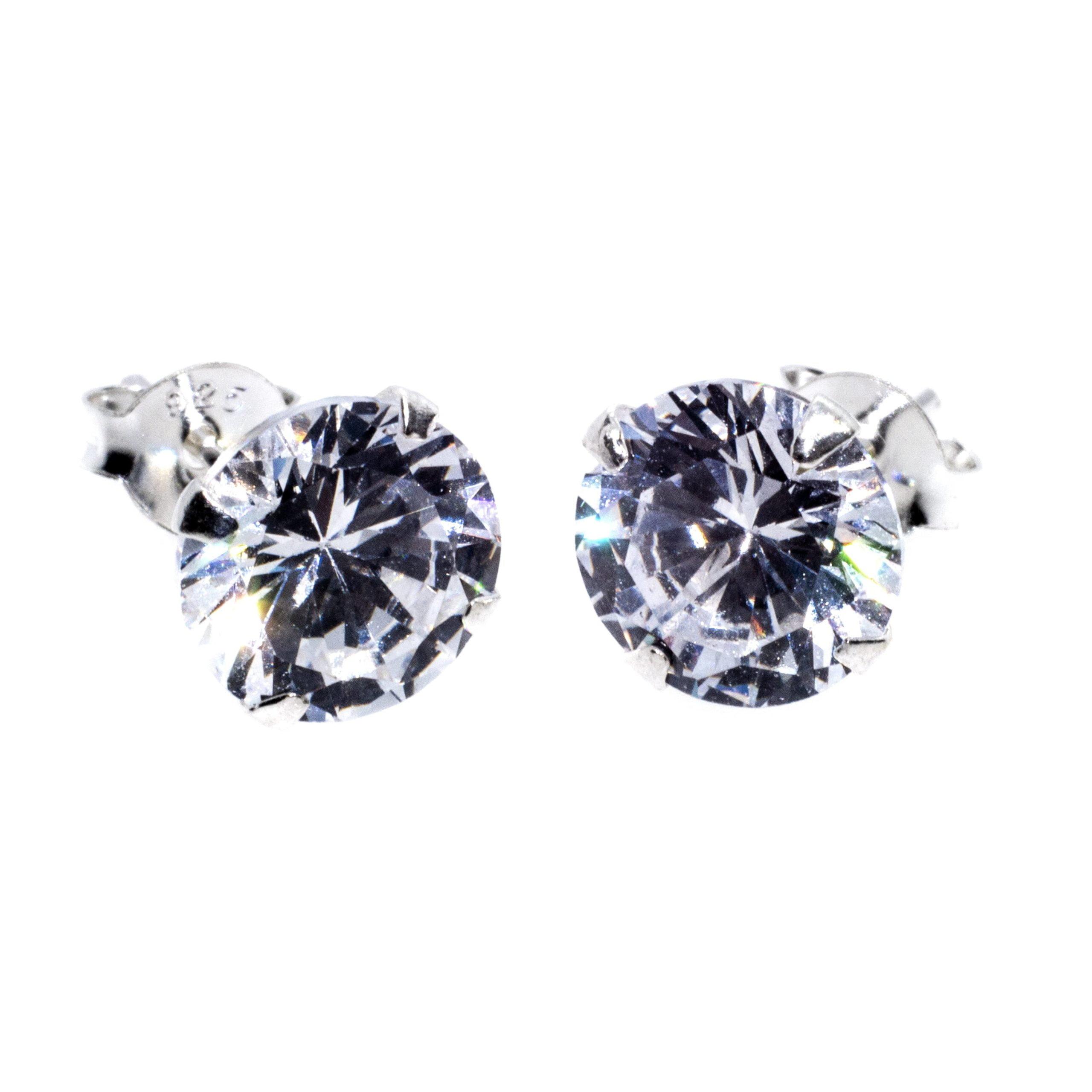 8mm CZ stud earrings sterling silver alt 2