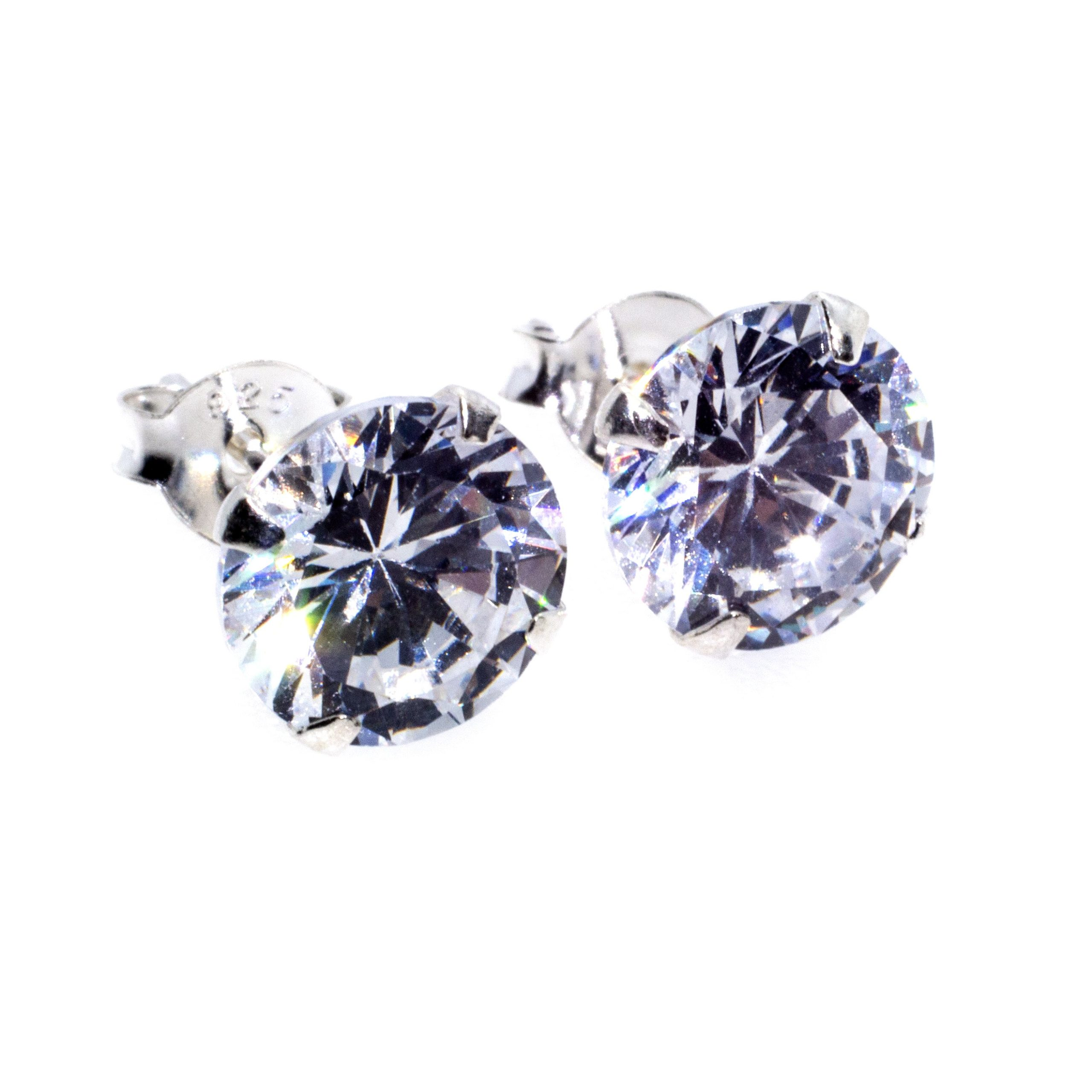 8mm CZ stud earrings sterling silver alt 3
