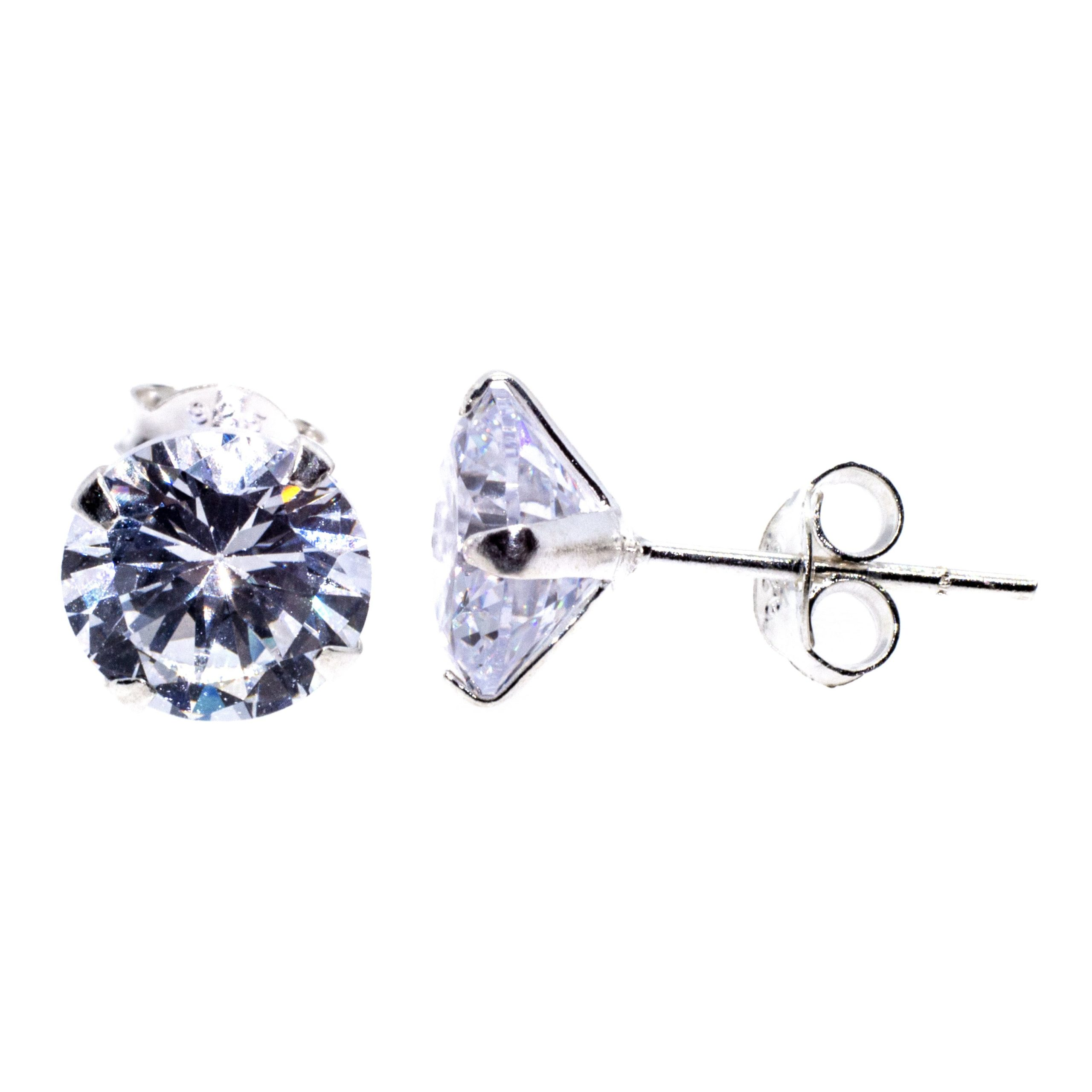 8mm CZ stud earrings sterling silver