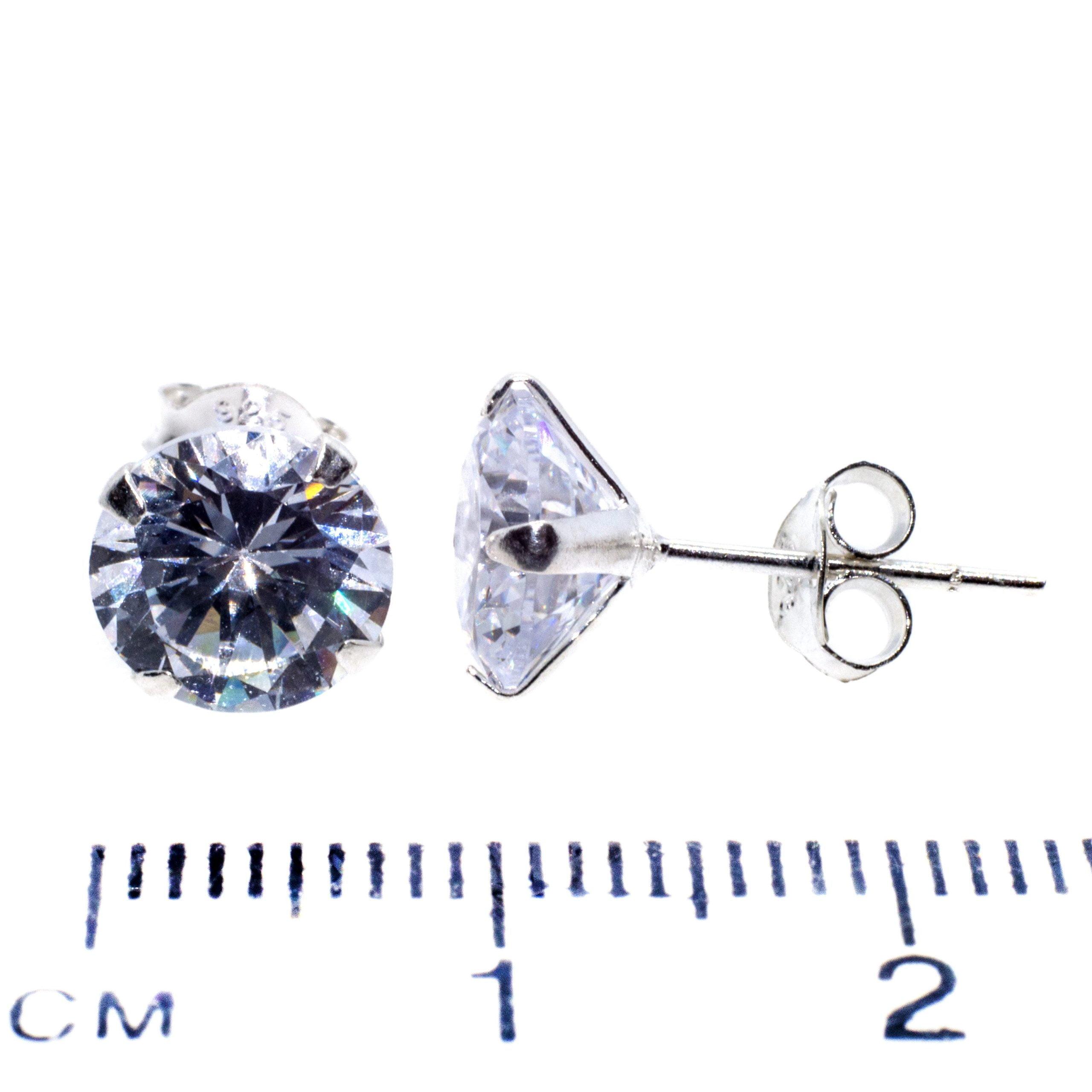 8mm CZ stud earrings sterling silver ruler