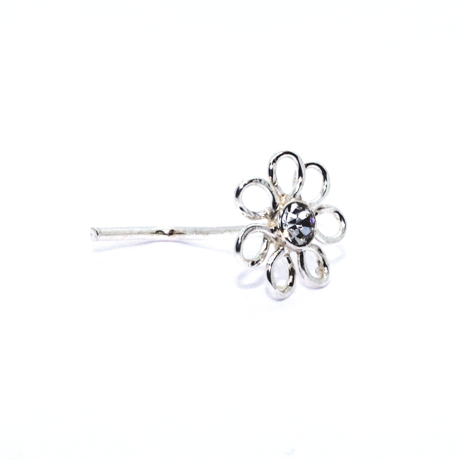 Flower with clear crystal nose stud in sterling silver