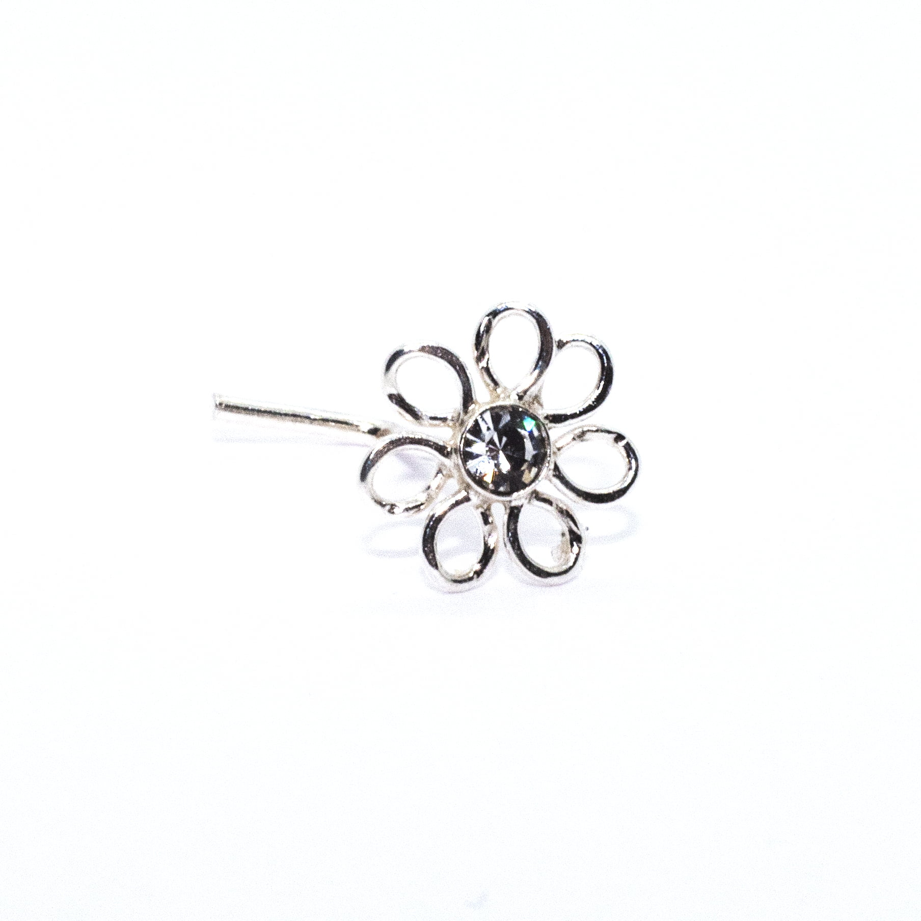 Flower with clear crystal nose stud in sterling silver (alt2)