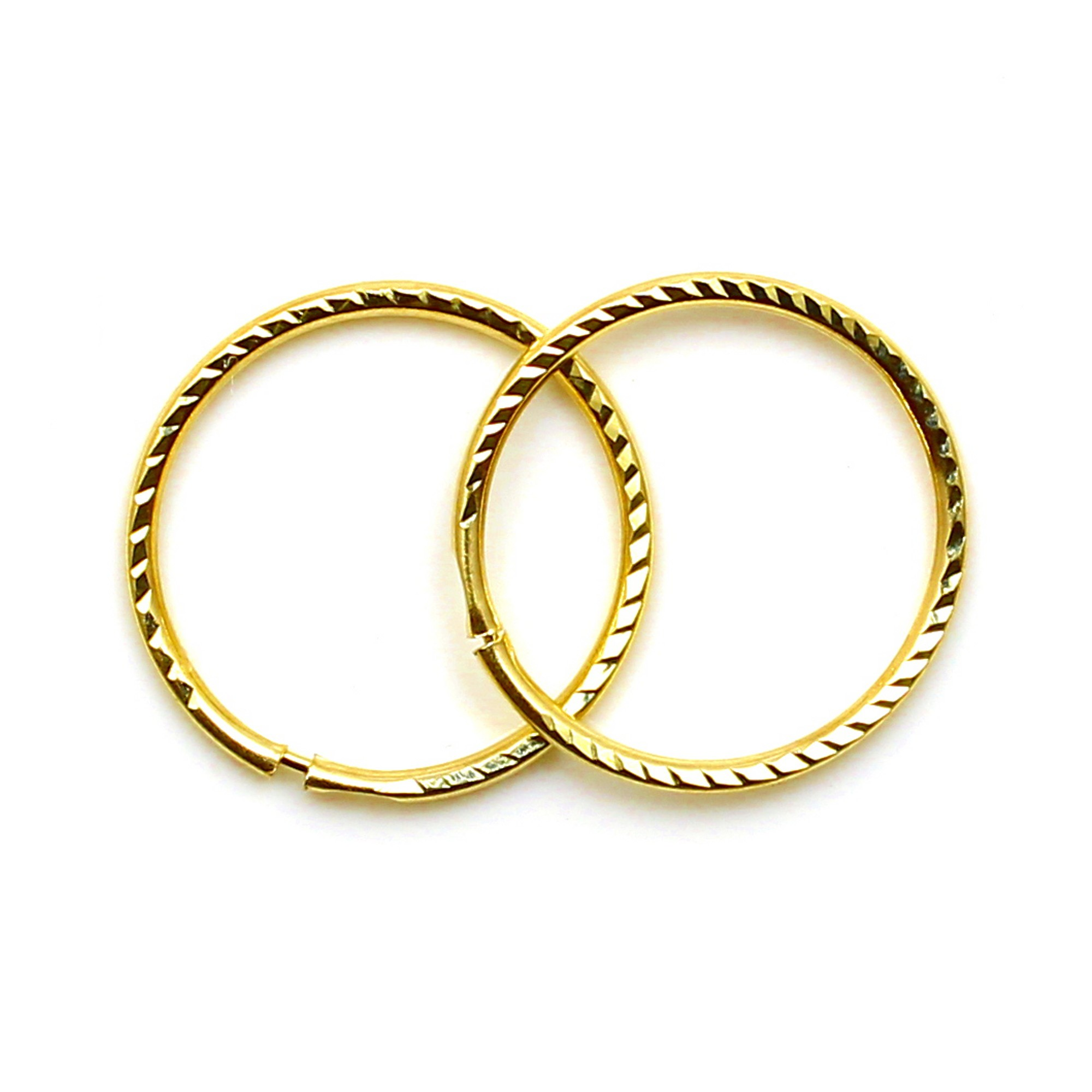 Arranview Jewellery 9ct Gold 14mm Plain Sleeper Hoops (1 Pair) W5CkX6