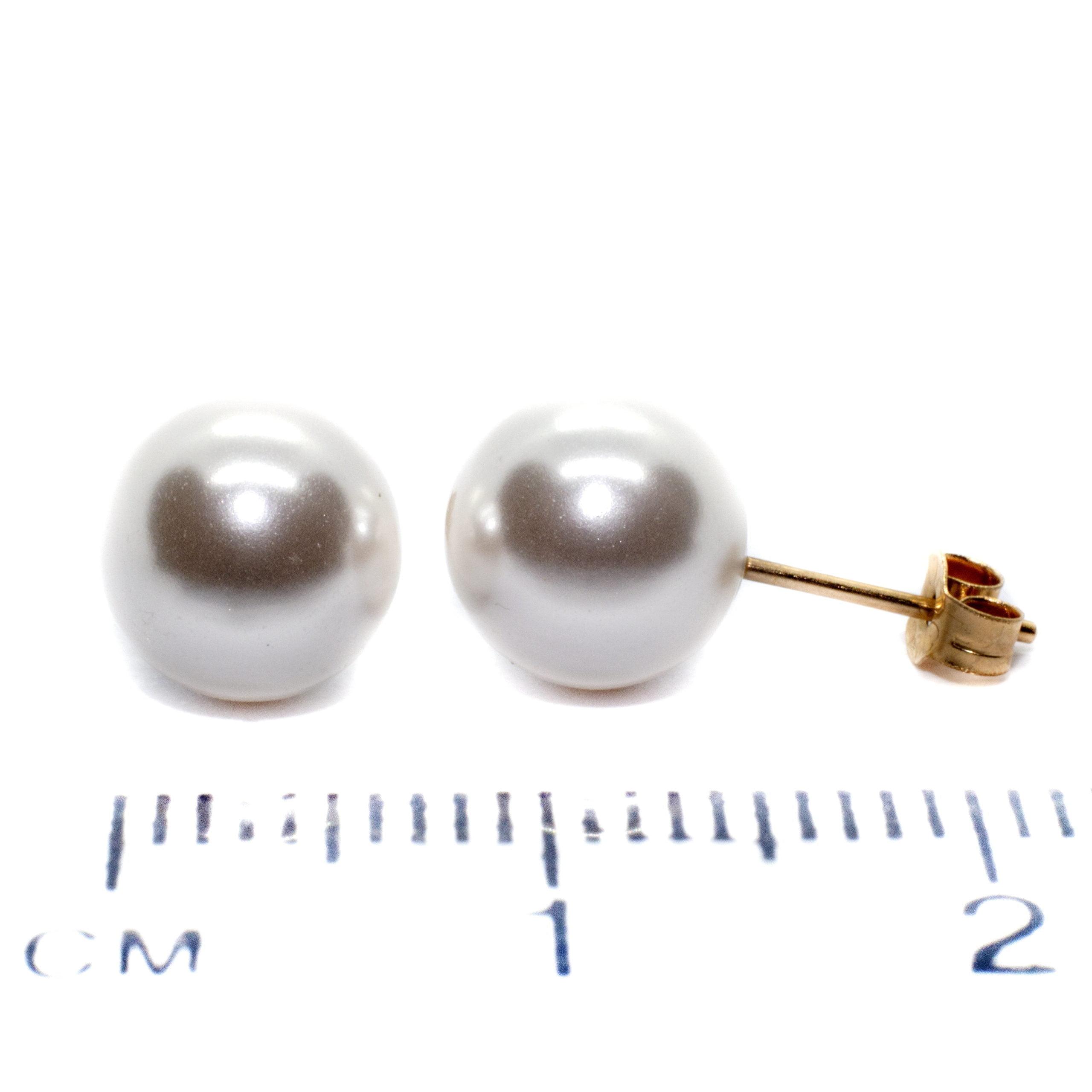 8mm gold pearl stud earings 9ct yellow gold ruler