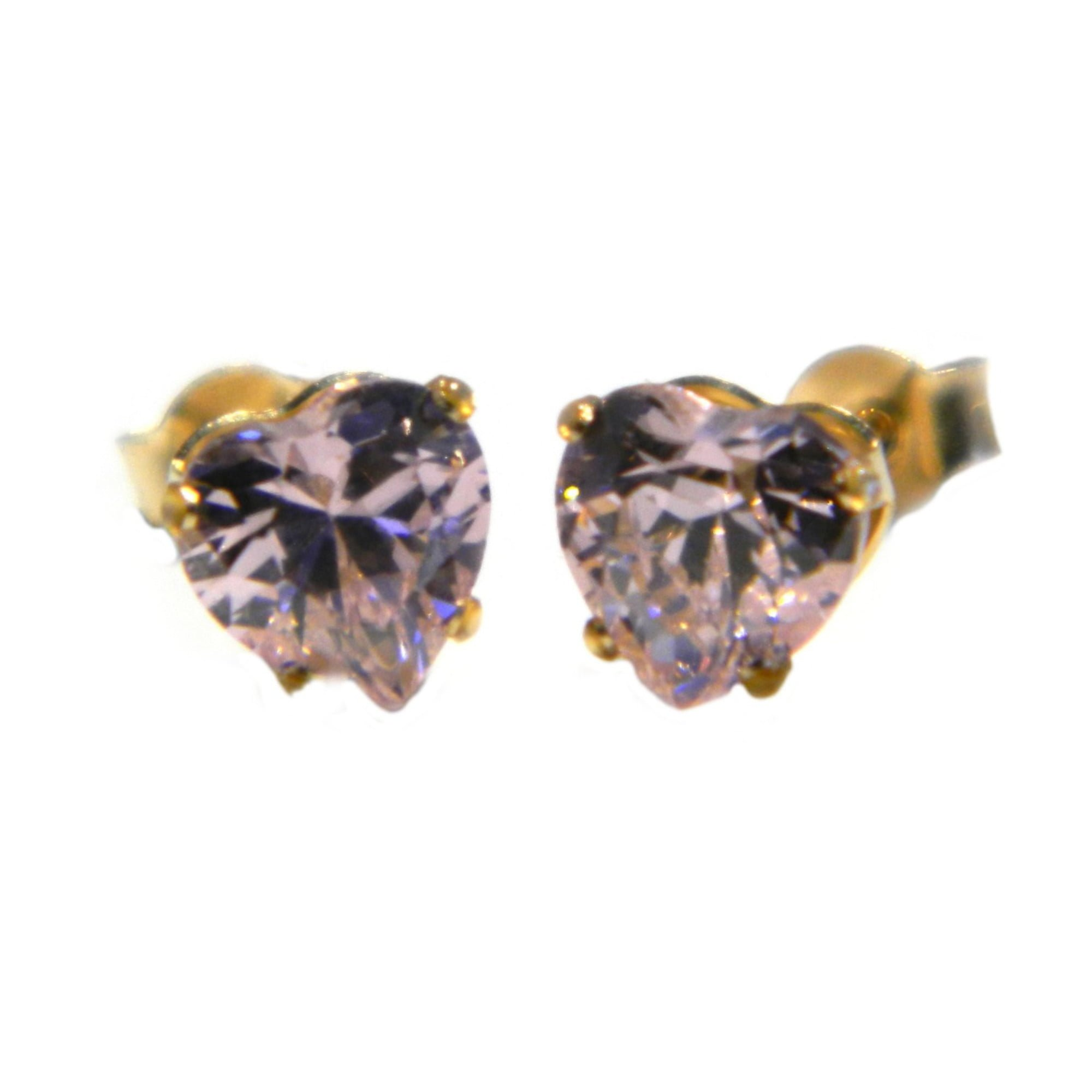 9ct gold pink cz heart stud earrings