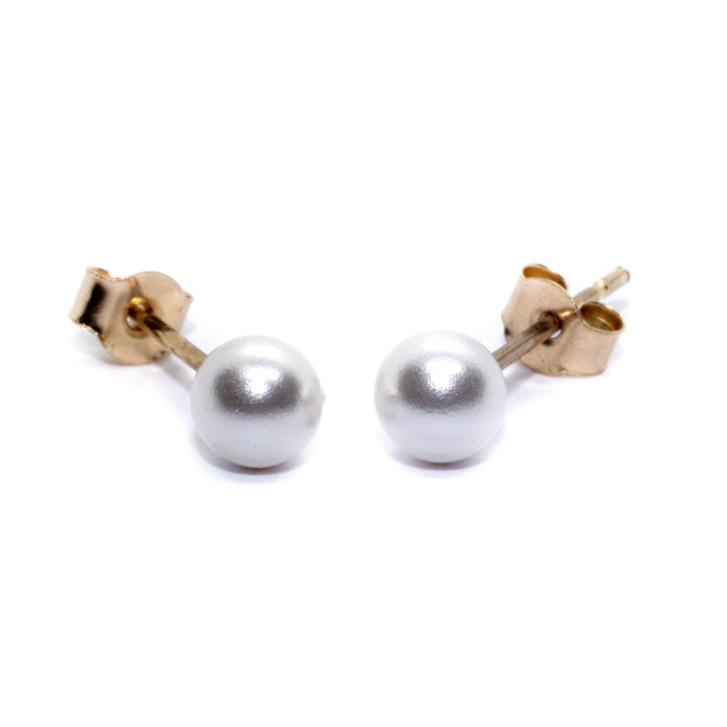 4mm gold pearl stud earings 9ct yellow gold alt2