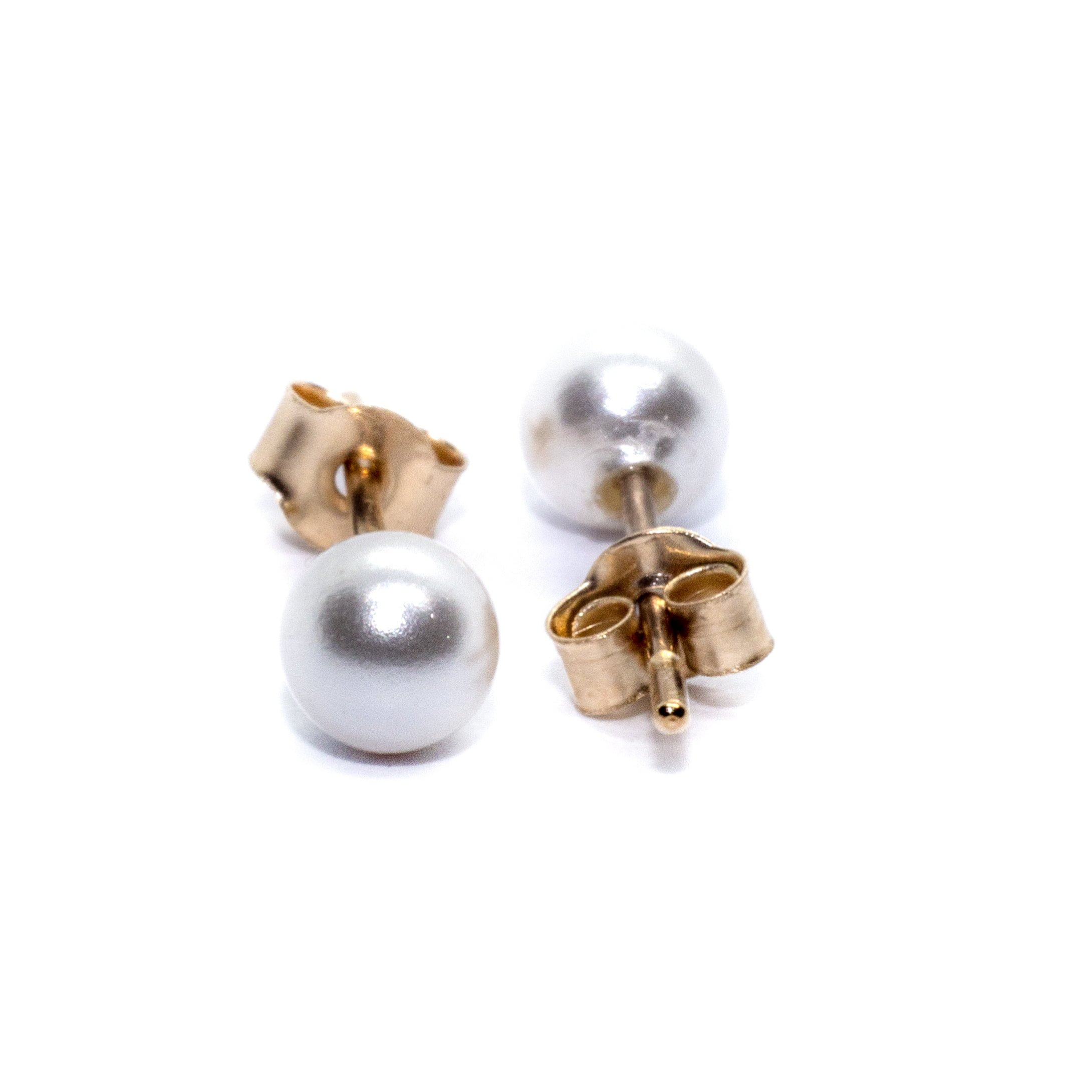 4mm gold pearl stud earings 9ct yellow gold alt 1