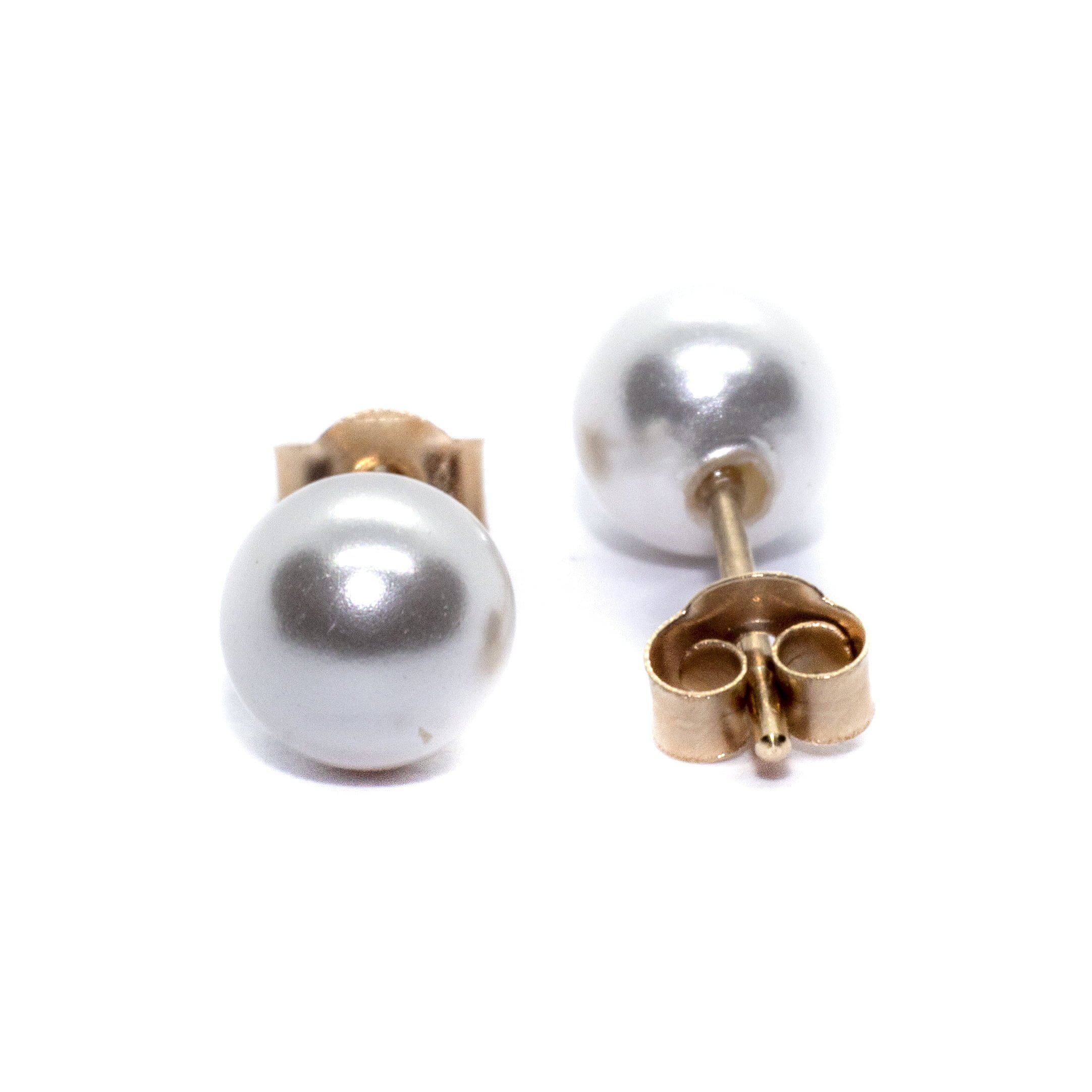 5mm gold pearl stud earings 9ct yellow gold alt1