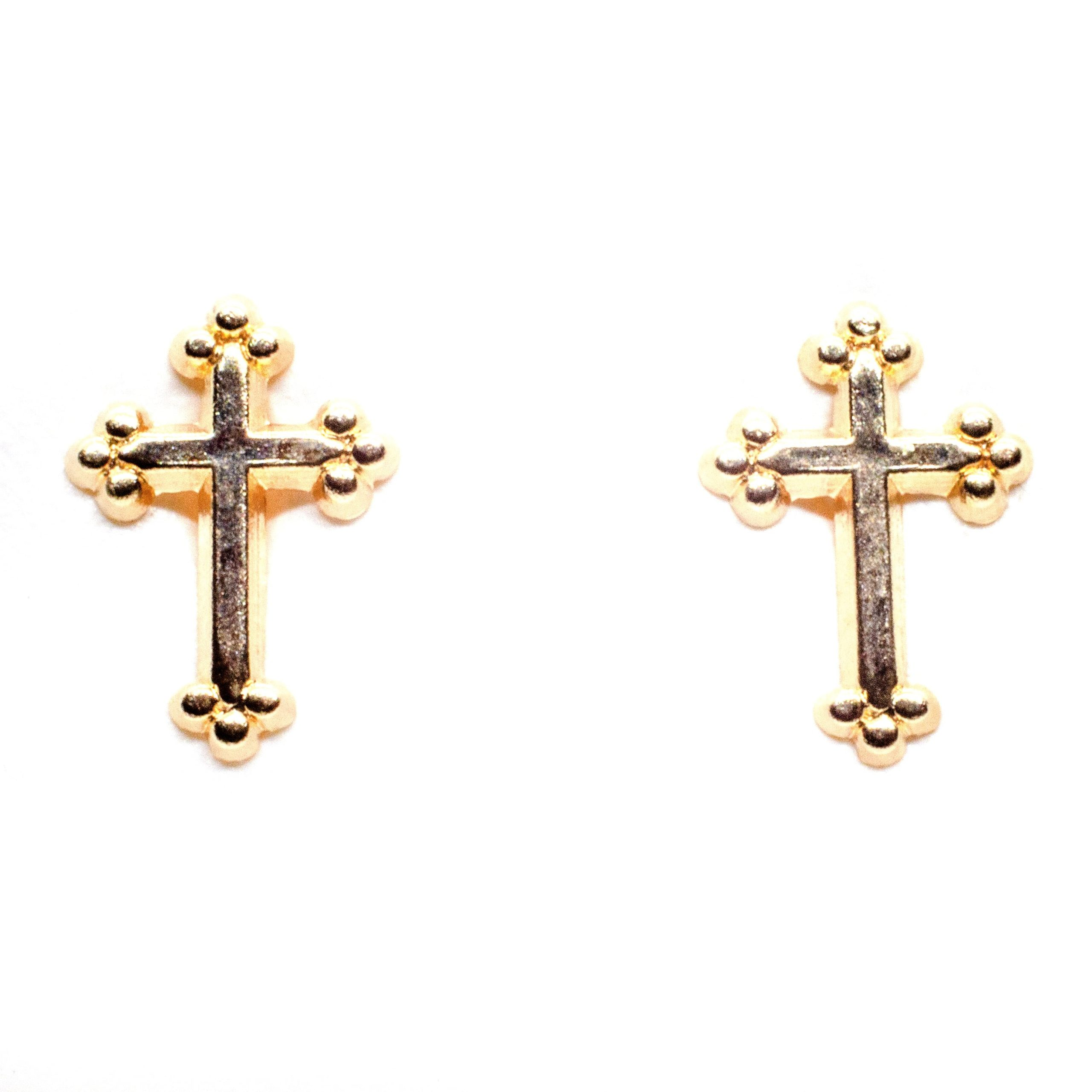 10mm x 5mm cross stud earrings 9ct yellow gold alt 1