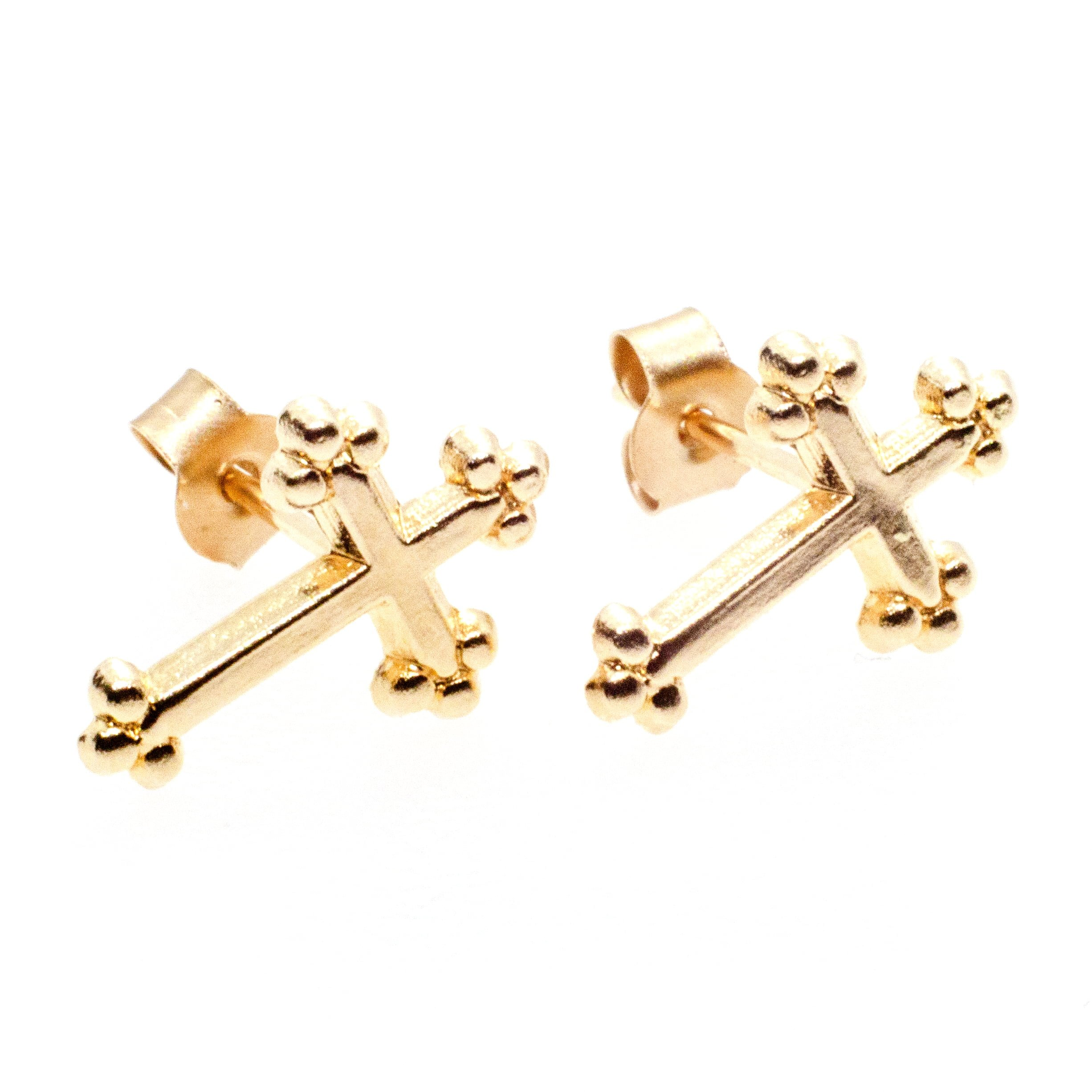 10mm x 5mm cross stud earrings 9ct yellow gold