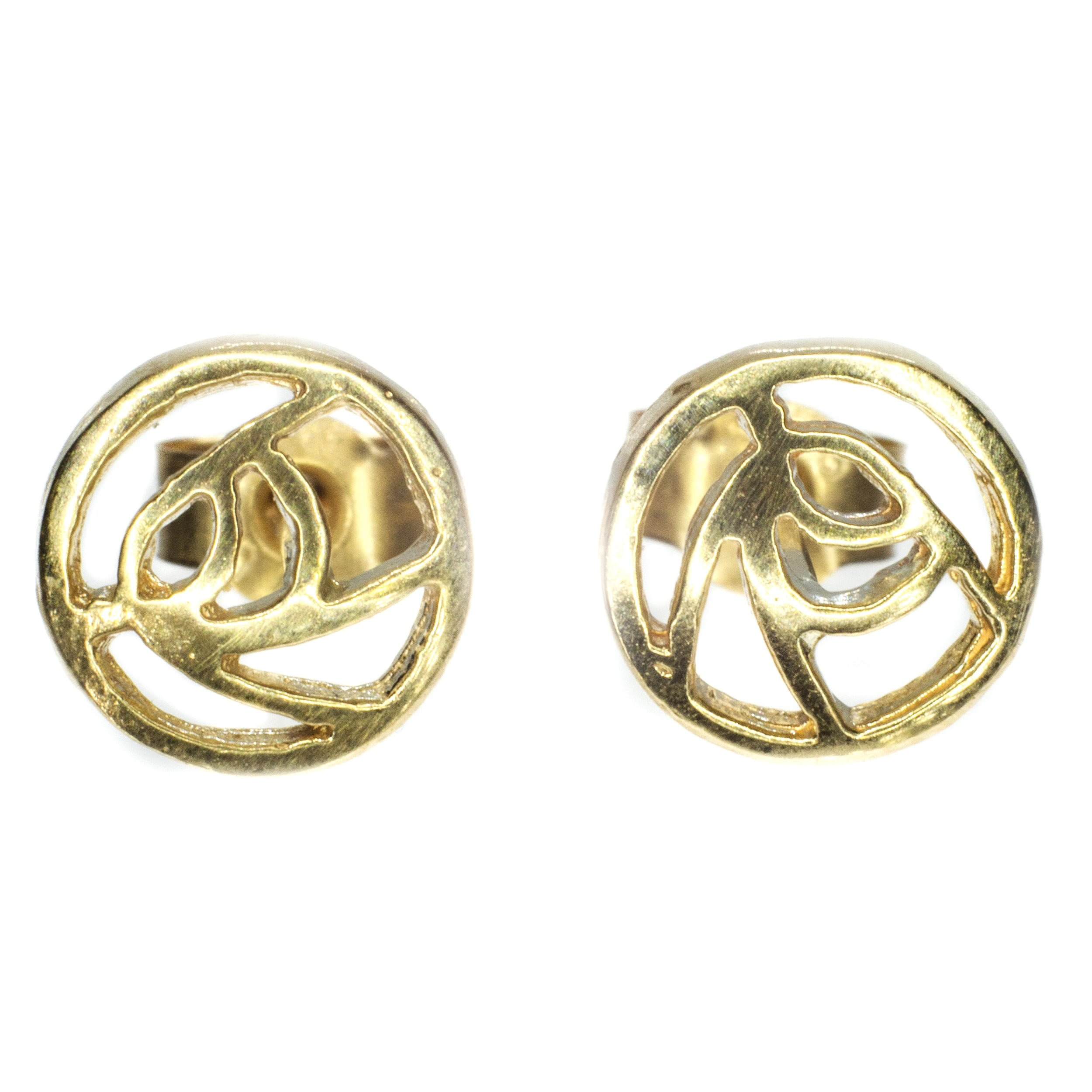 6mm Rennie Mackintosh gold stud earing 9ct yellow gold