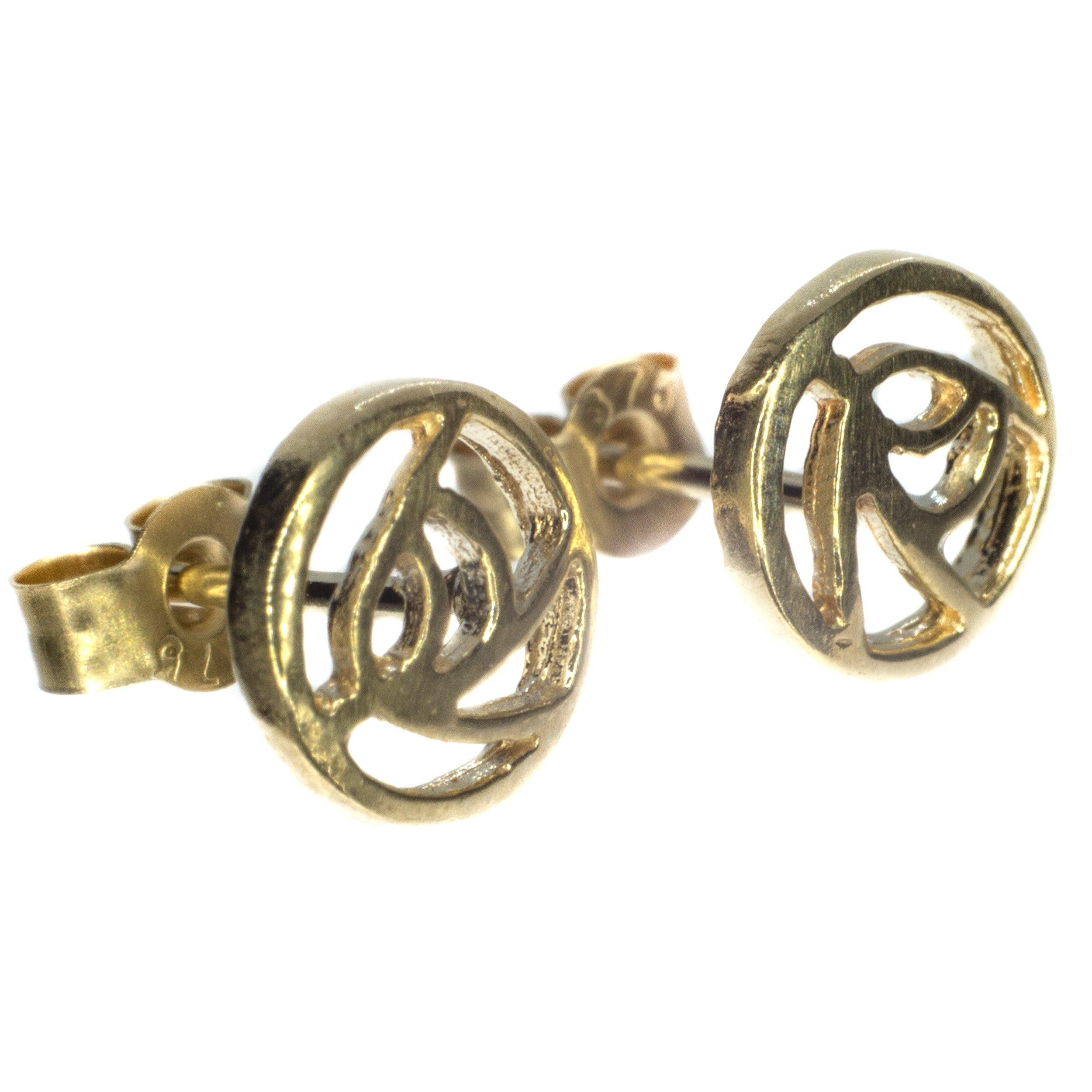 6mm Rennie Mackintosh gold stud earing 9ct yellow gold alt 1