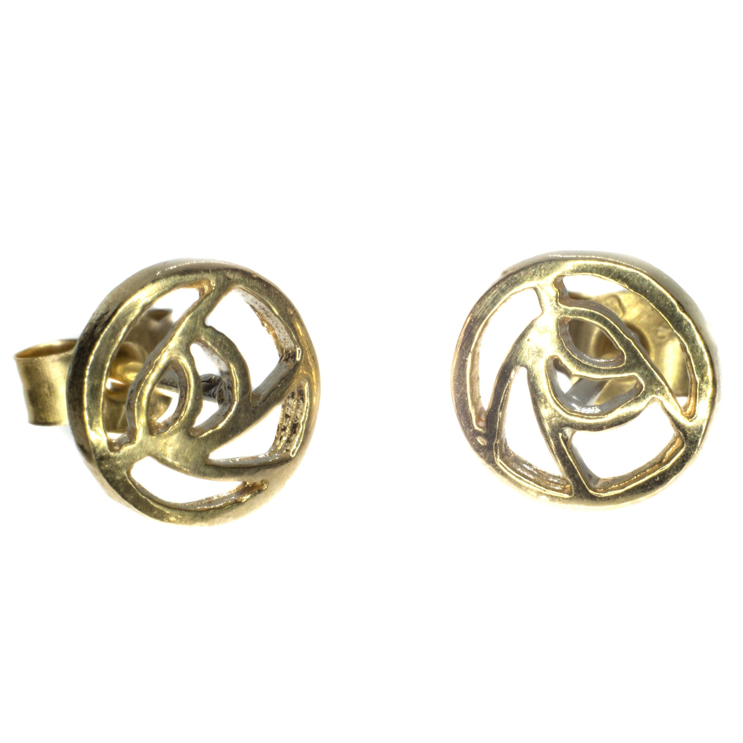 6mm Rennie Mackintosh gold stud earing 9ct yellow gold alt 2