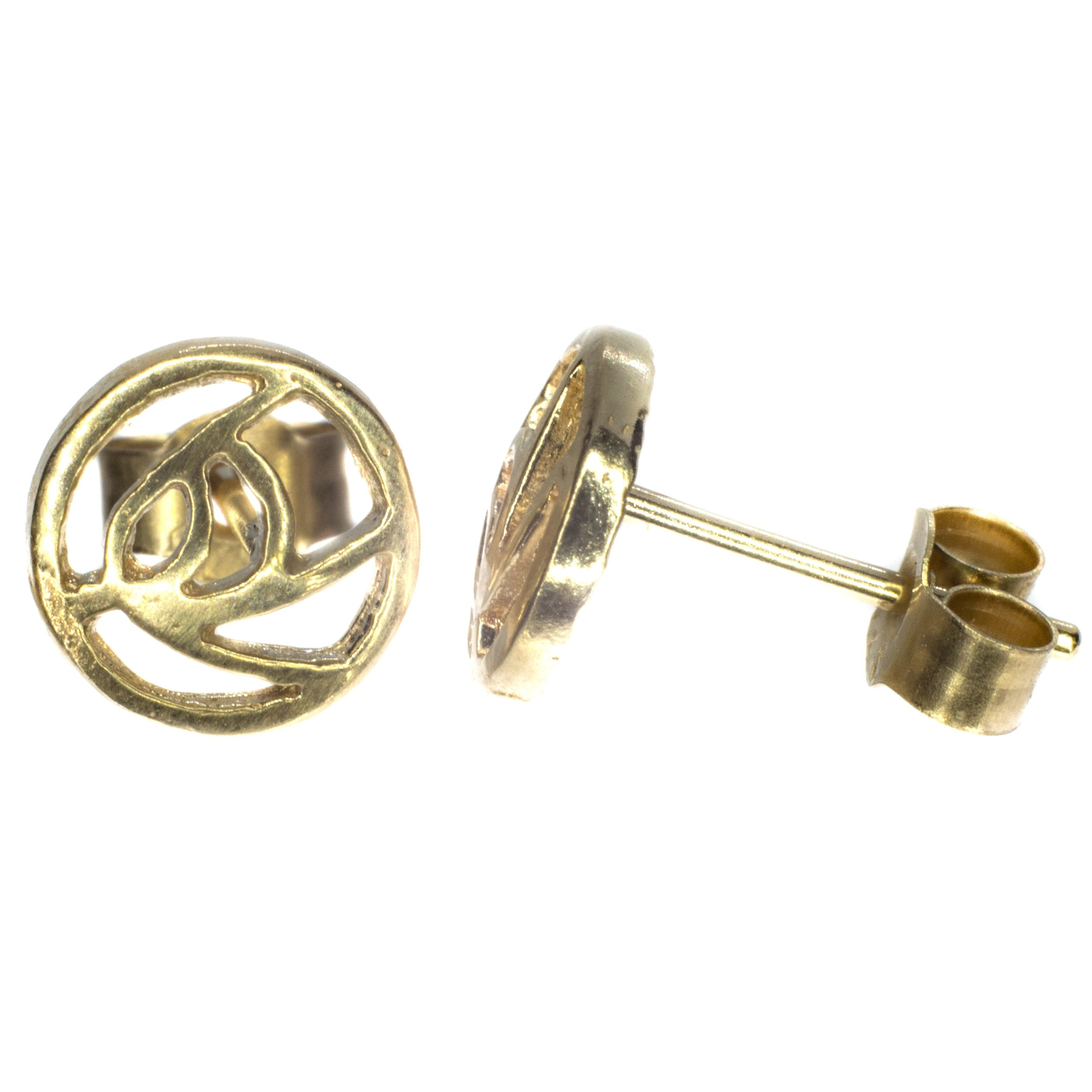 6mm Rennie Mackintosh gold stud earing 9ct yellow gold alt 3