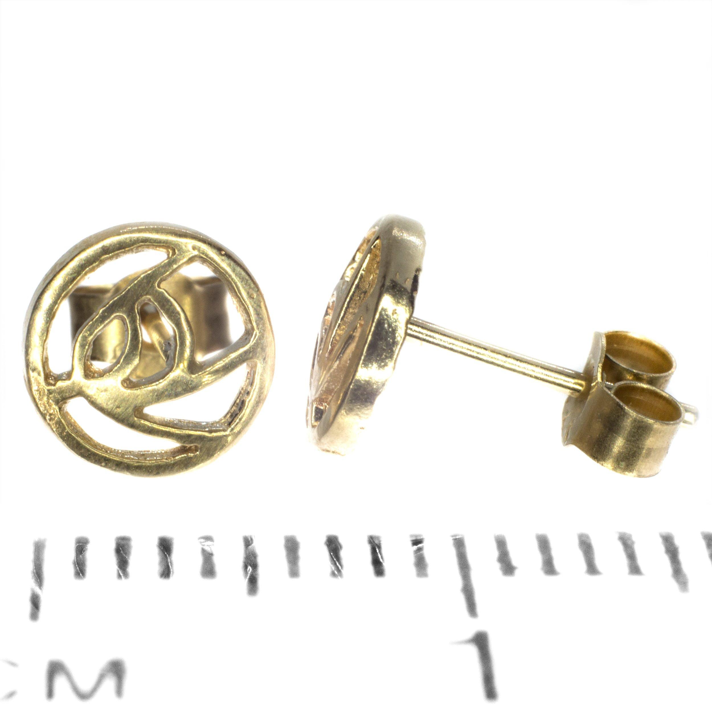 6mm Rennie Mackintosh gold stud earing 9ct yellow gold ruler